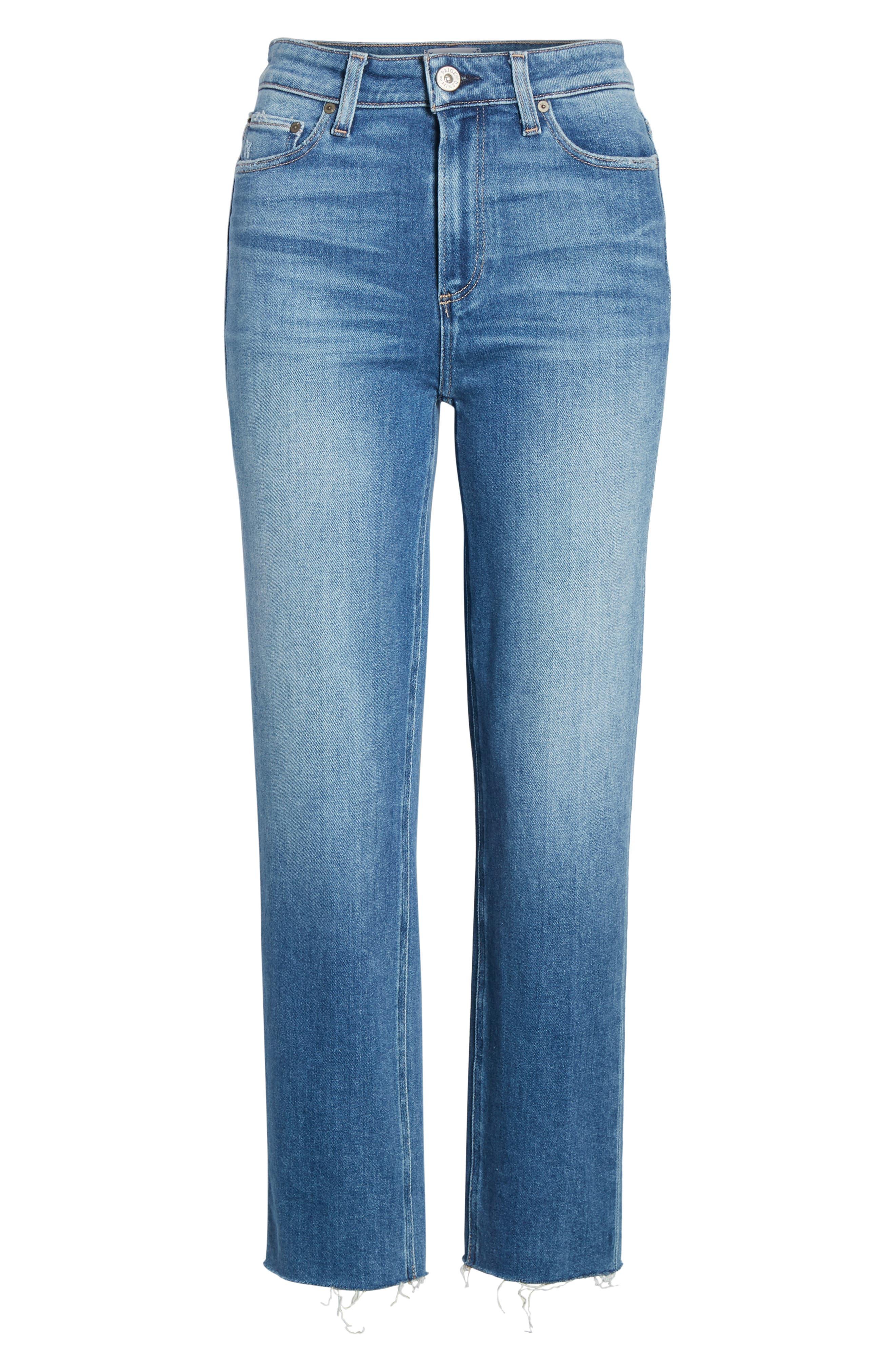 Vintage - Hoxton High Waist Raw Hem Straight Leg Jeans,                             Alternate thumbnail 6, color,                             RENZO DISTRESSED
