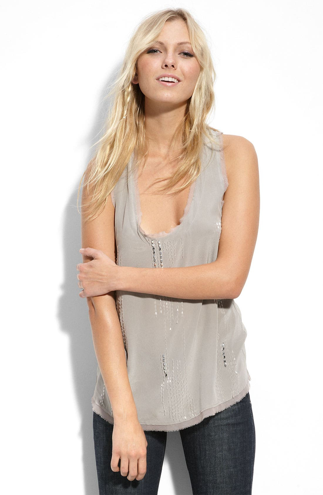 Pure Sugar Tank & Kensie Faux Fur Vest with Citizens of Humanity Stretch Jeans,                             Main thumbnail 1, color,                             055