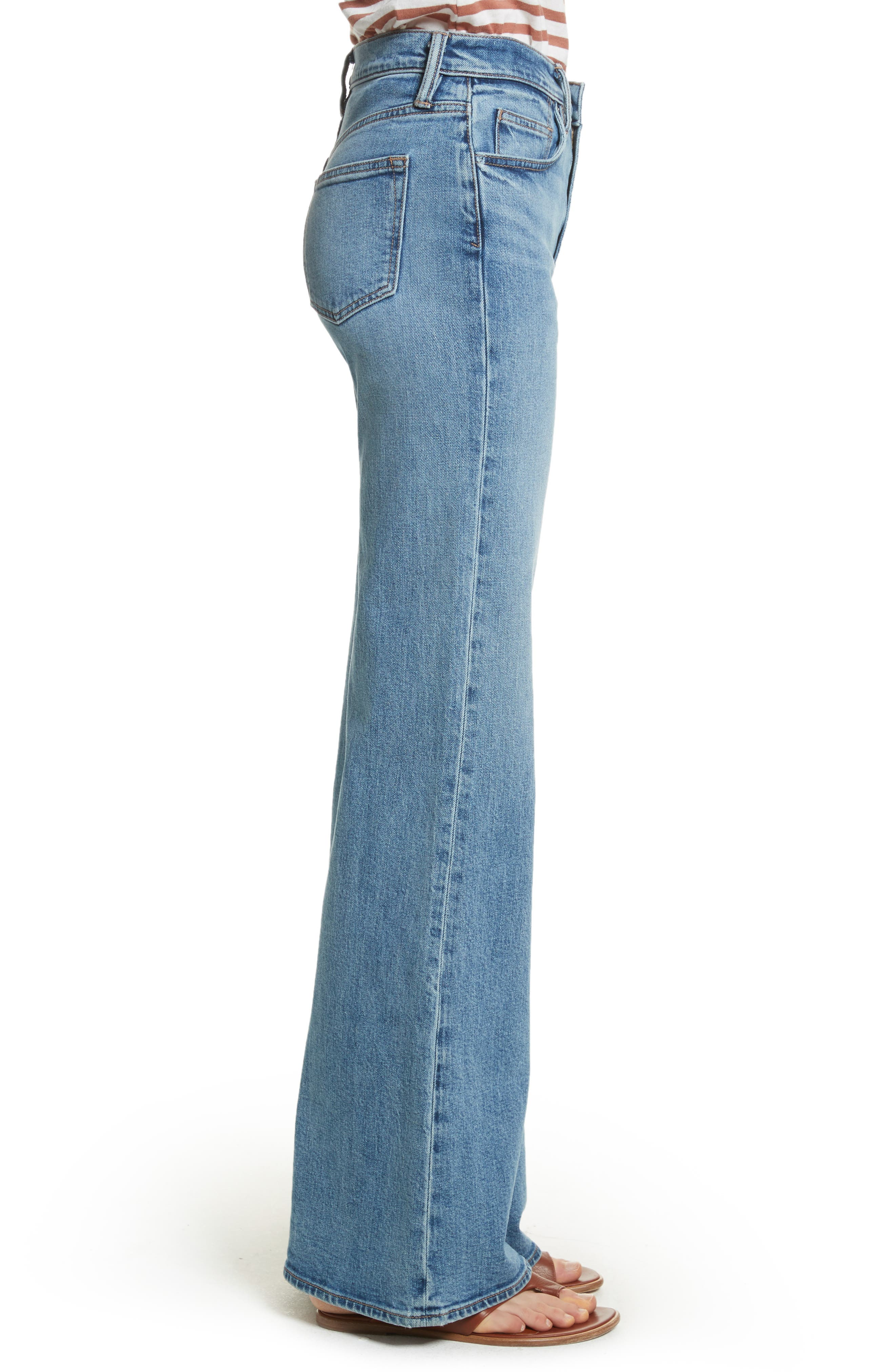 Wide Flare Leg Jeans,                             Alternate thumbnail 3, color,                             482
