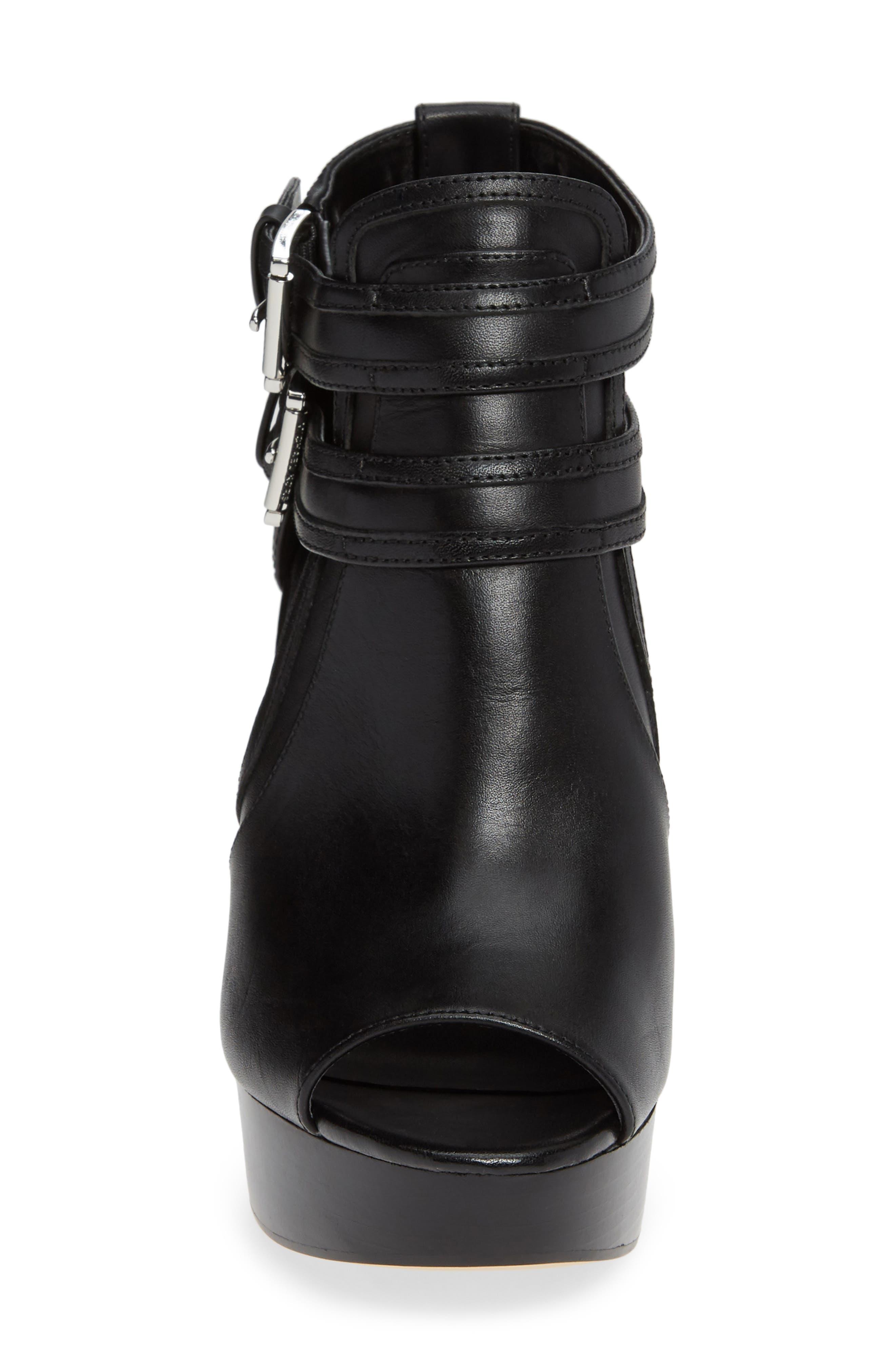 Blaze Wedge Sandal,                             Alternate thumbnail 4, color,                             BLACK VACHETTA LEATHER