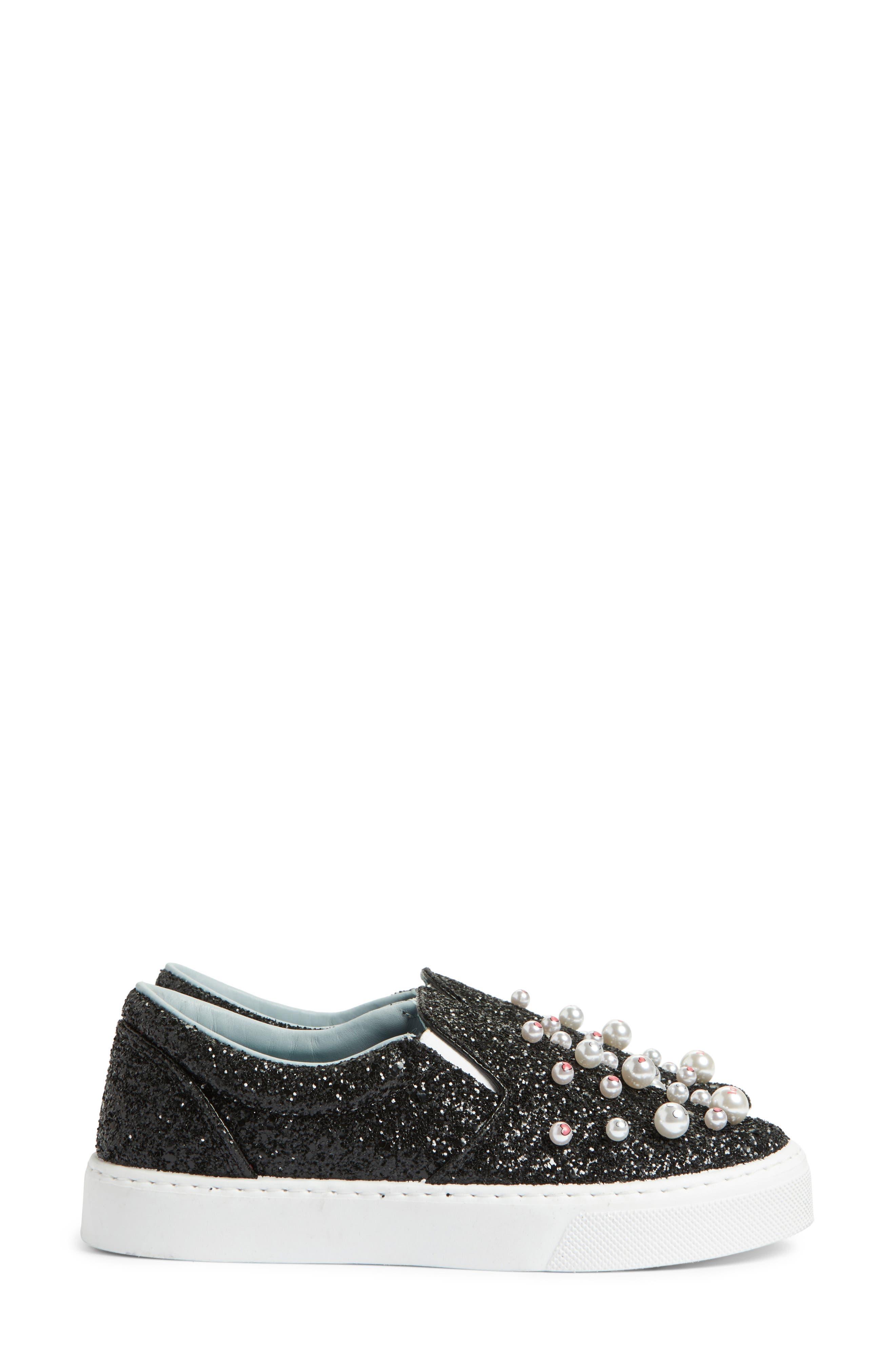 Candies Embellished Slip-On Sneaker,                             Alternate thumbnail 3, color,                             001