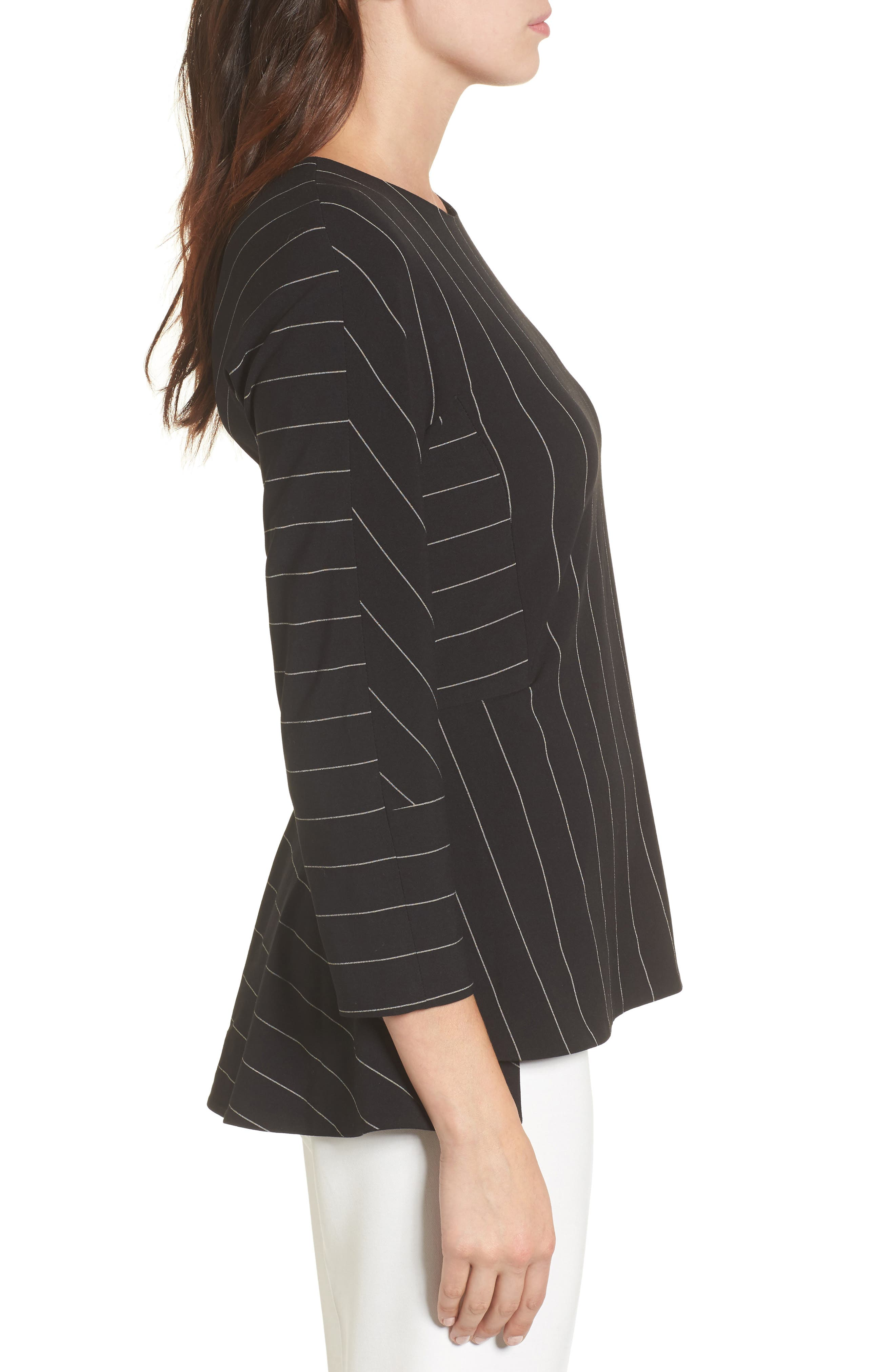 Pinstripe Blouse,                             Alternate thumbnail 3, color,                             001
