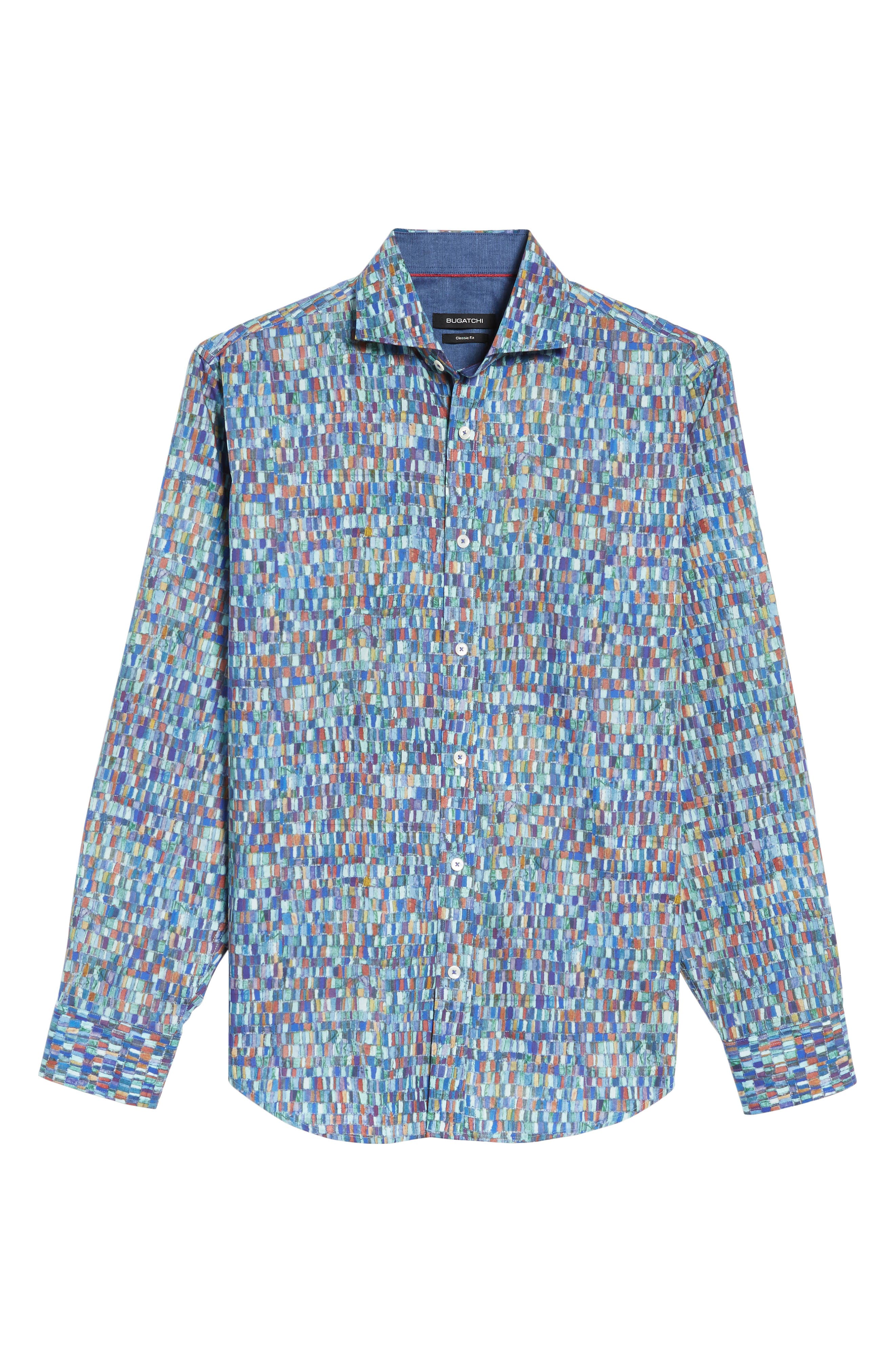 Classic Fit Mosaic Print Sport Shirt,                             Alternate thumbnail 6, color,                             301