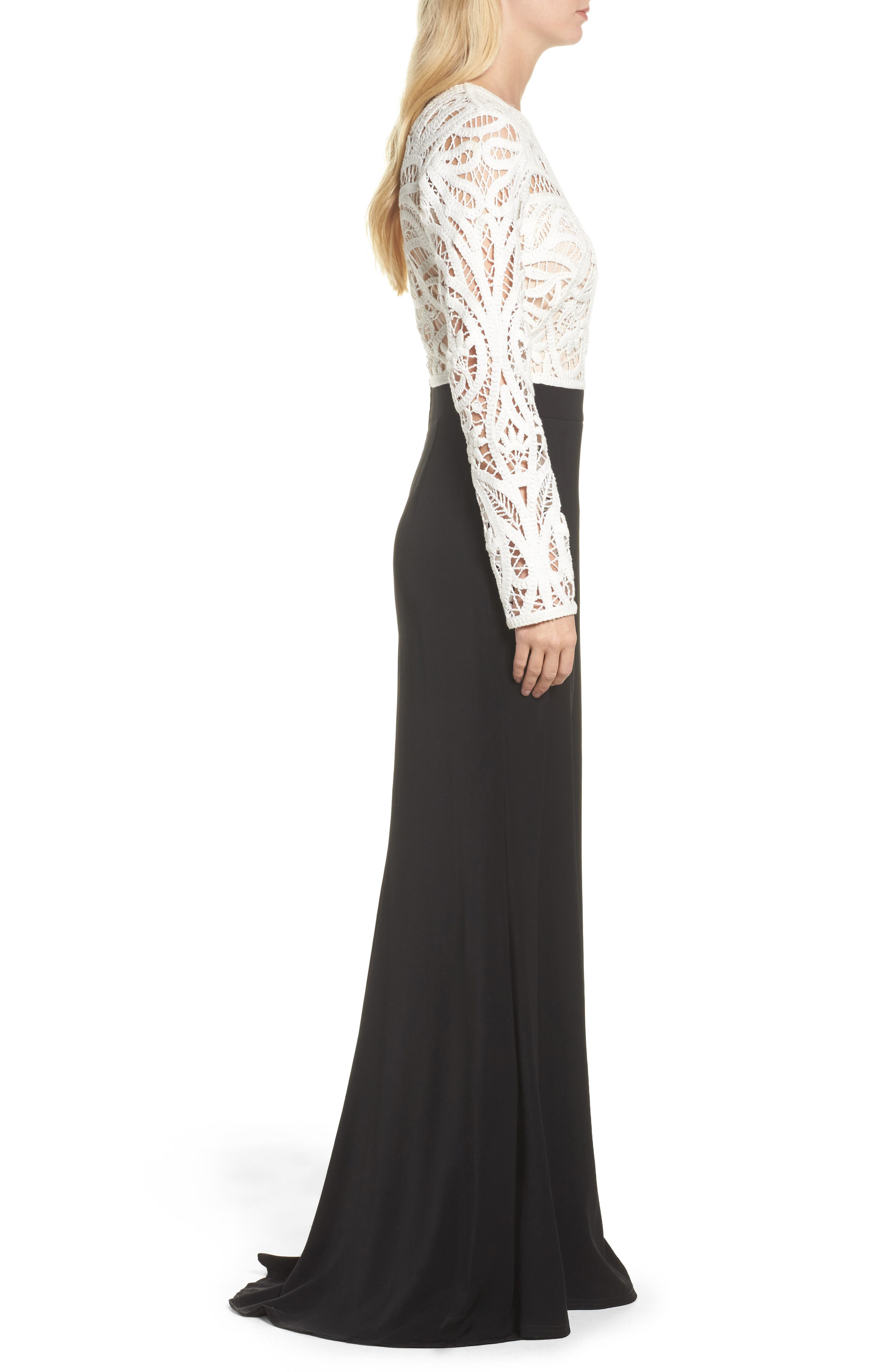 Crochet Lace & Crepe Gown,                             Alternate thumbnail 3, color,                             IVORY/ BLACK