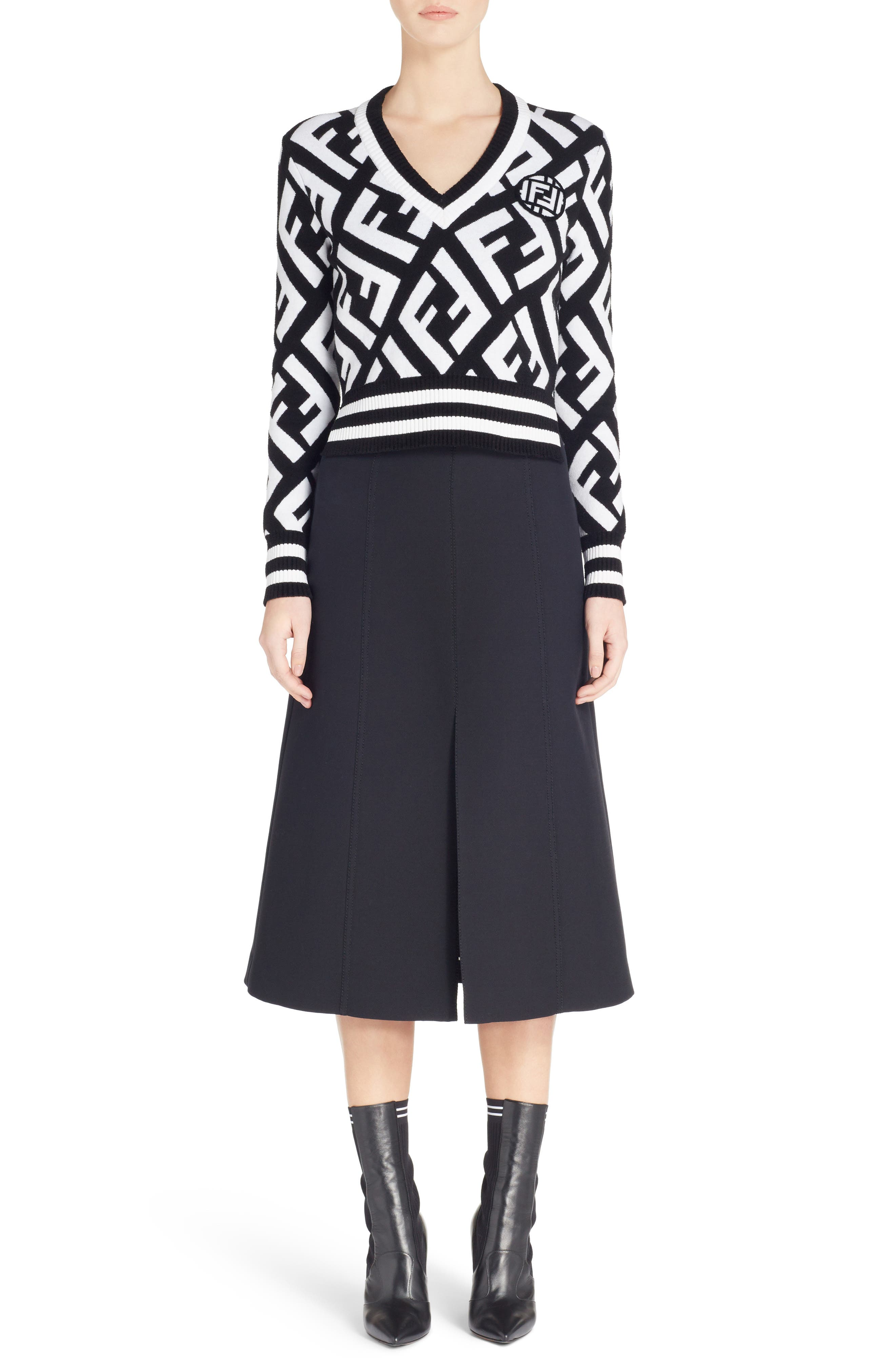 Wool & Silk Belted A-Line Skirt,                             Alternate thumbnail 6, color,                             001