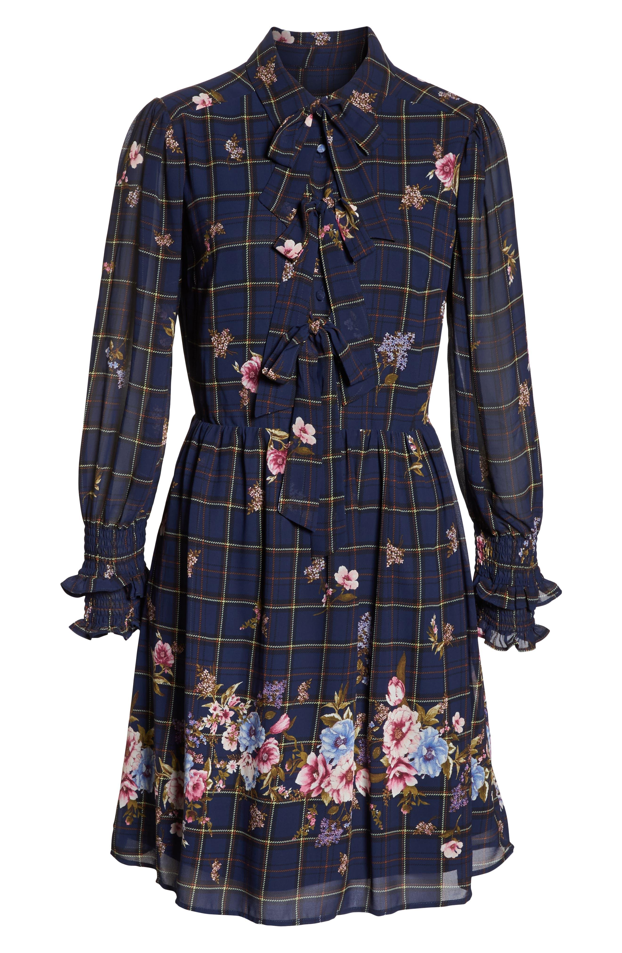 Three-Bow Long Sleeve Dress,                             Alternate thumbnail 7, color,                             NAVY PLAID FLORAL