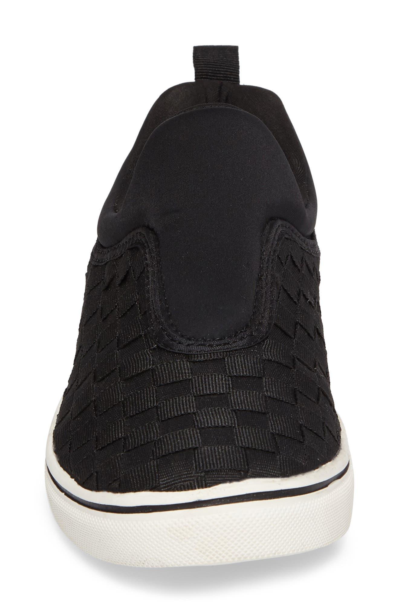 Bernie Mev Joan Slip-On Sneaker,                             Alternate thumbnail 4, color,                             BLACK/ BLACK FABRIC