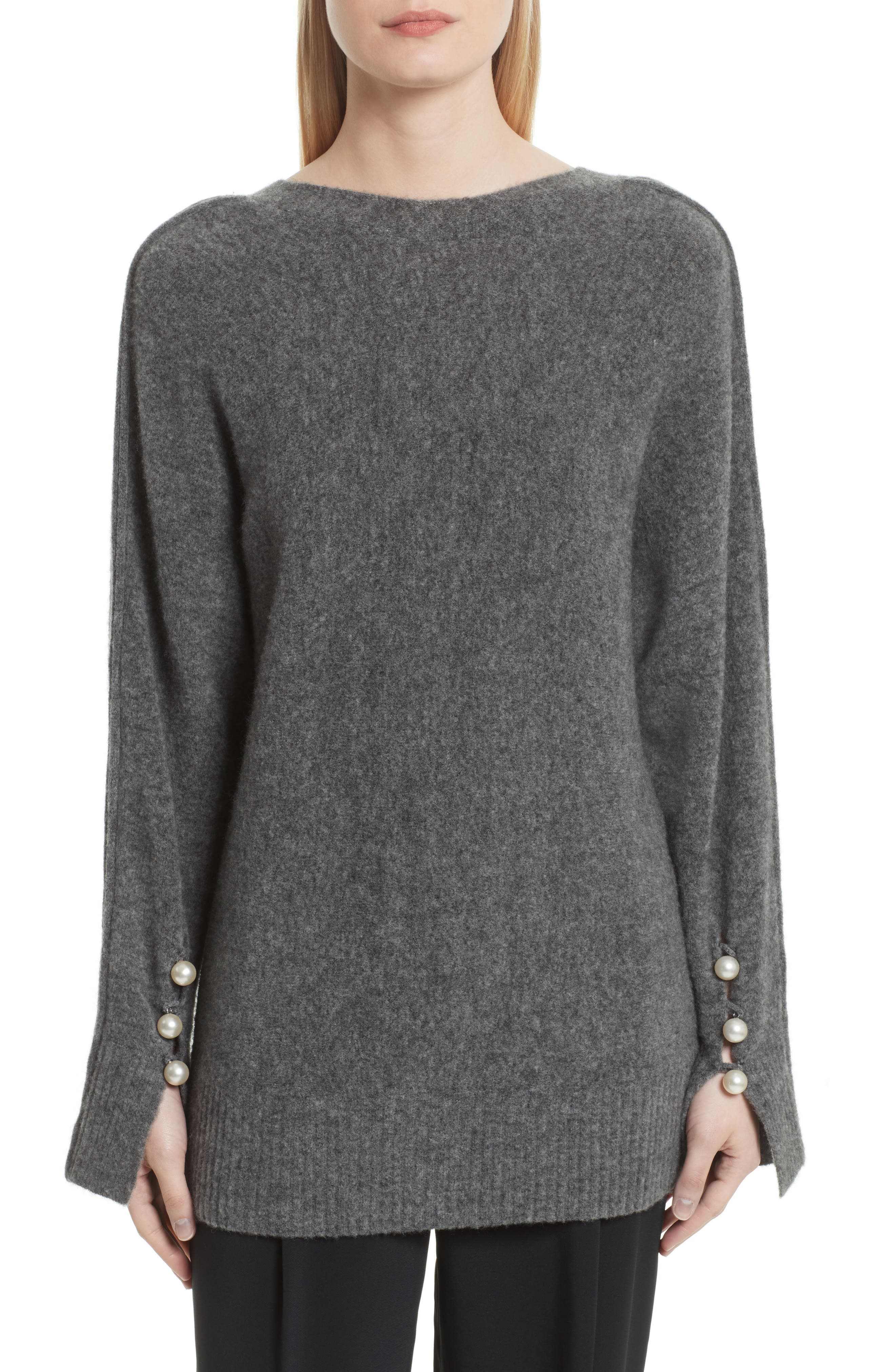 V-Back Sweater with Faux Pearl Cuffs,                             Main thumbnail 1, color,                             021