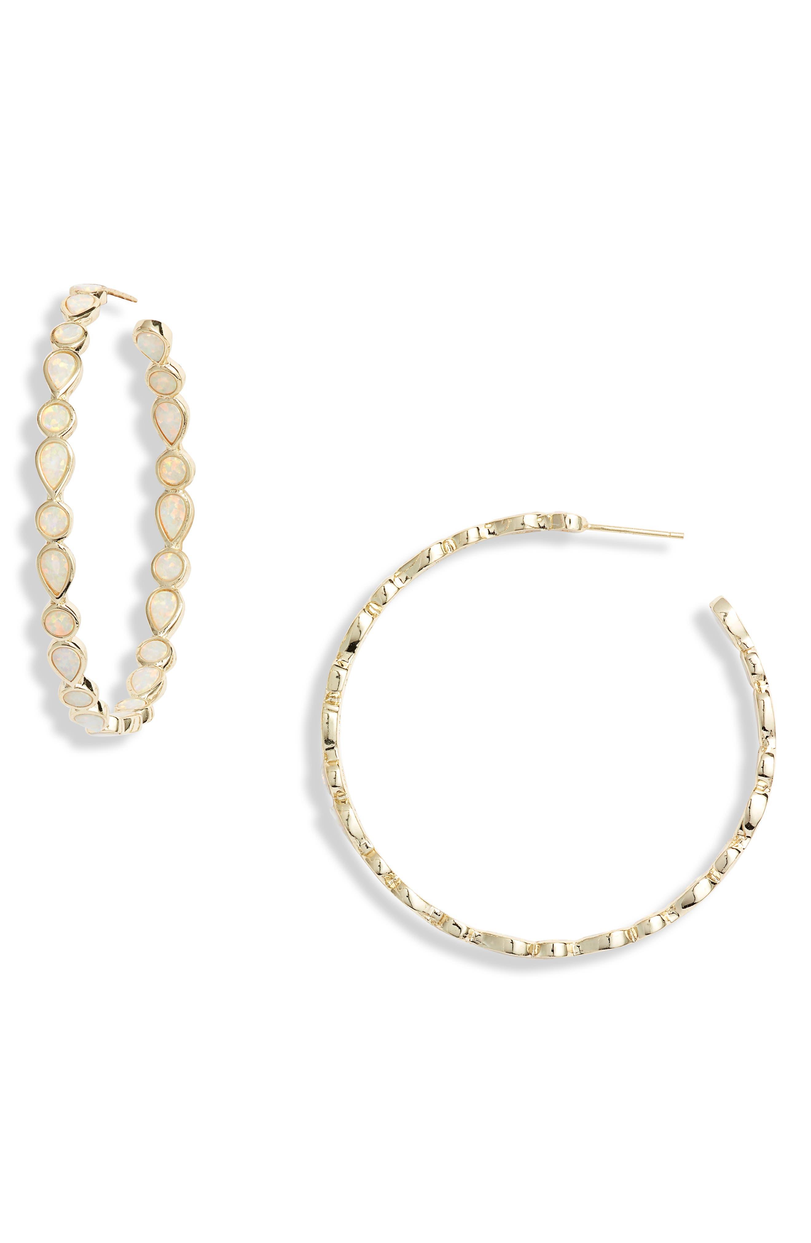 MELINDA MARIA Isla Opal Hoop Earrings in White Opal/ Gold