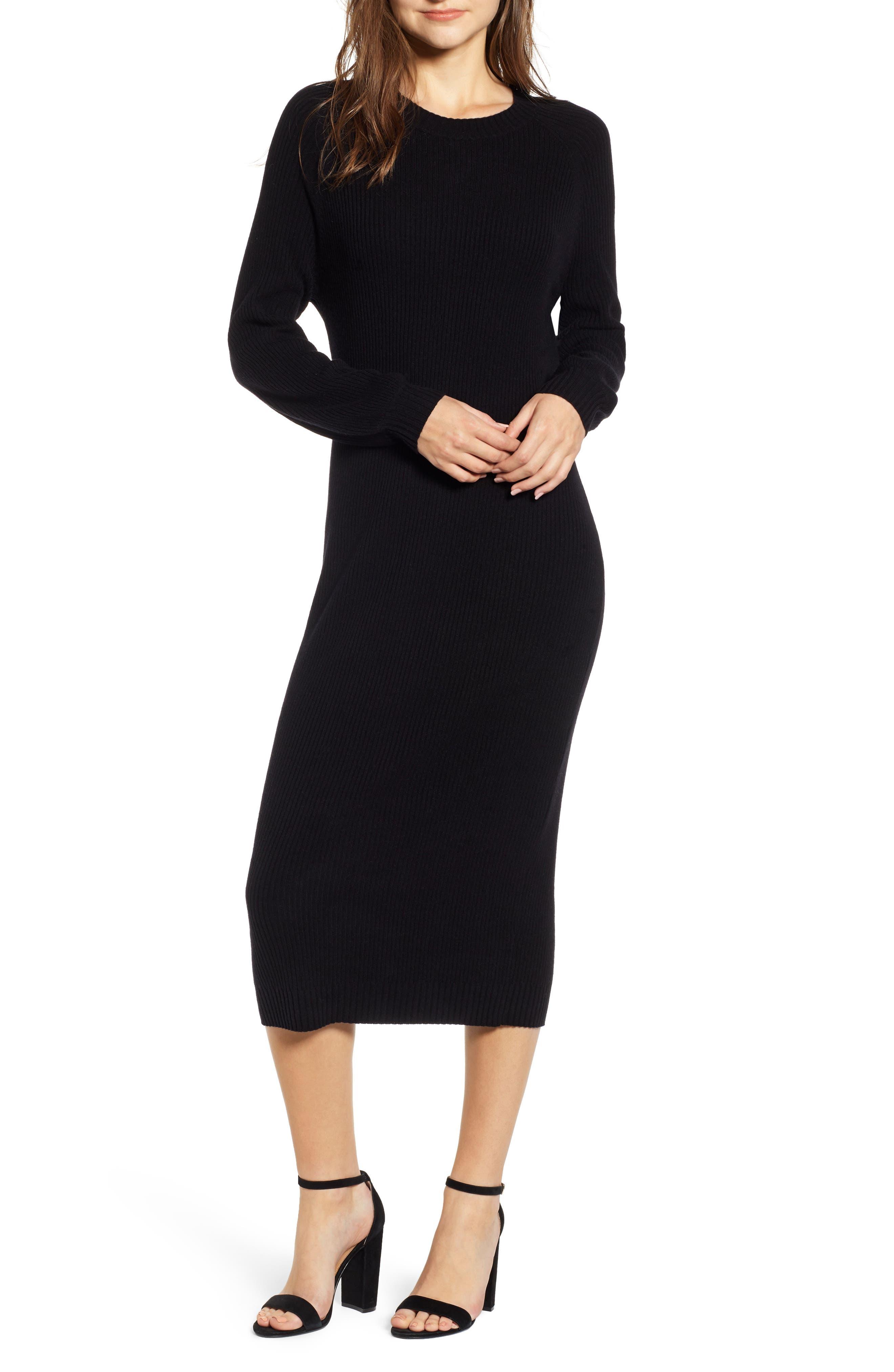 Quaid Knit Sweater Dress,                             Main thumbnail 1, color,                             TRUE BLACK