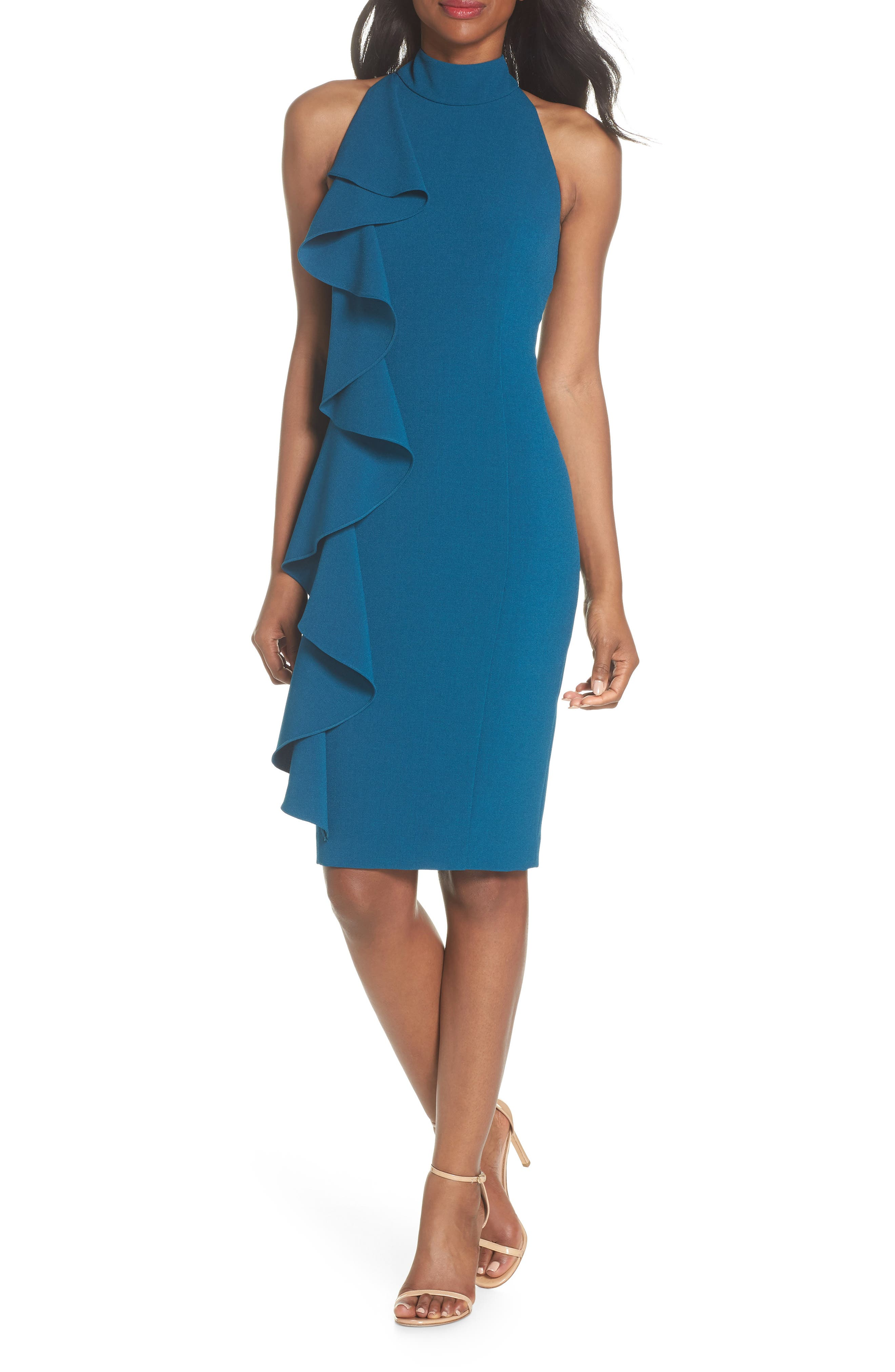 Ruffle Sheath Dress,                             Alternate thumbnail 6, color,                             PEACOCK