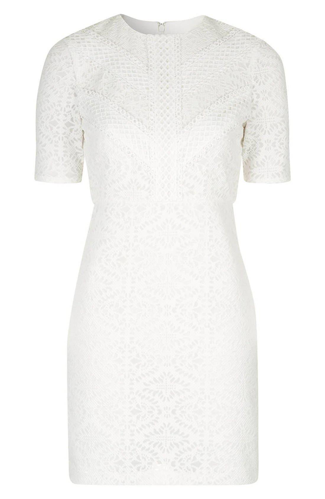 TOPSHOP,                             Laser Cut Lace Shift Dress,                             Alternate thumbnail 2, color,                             900