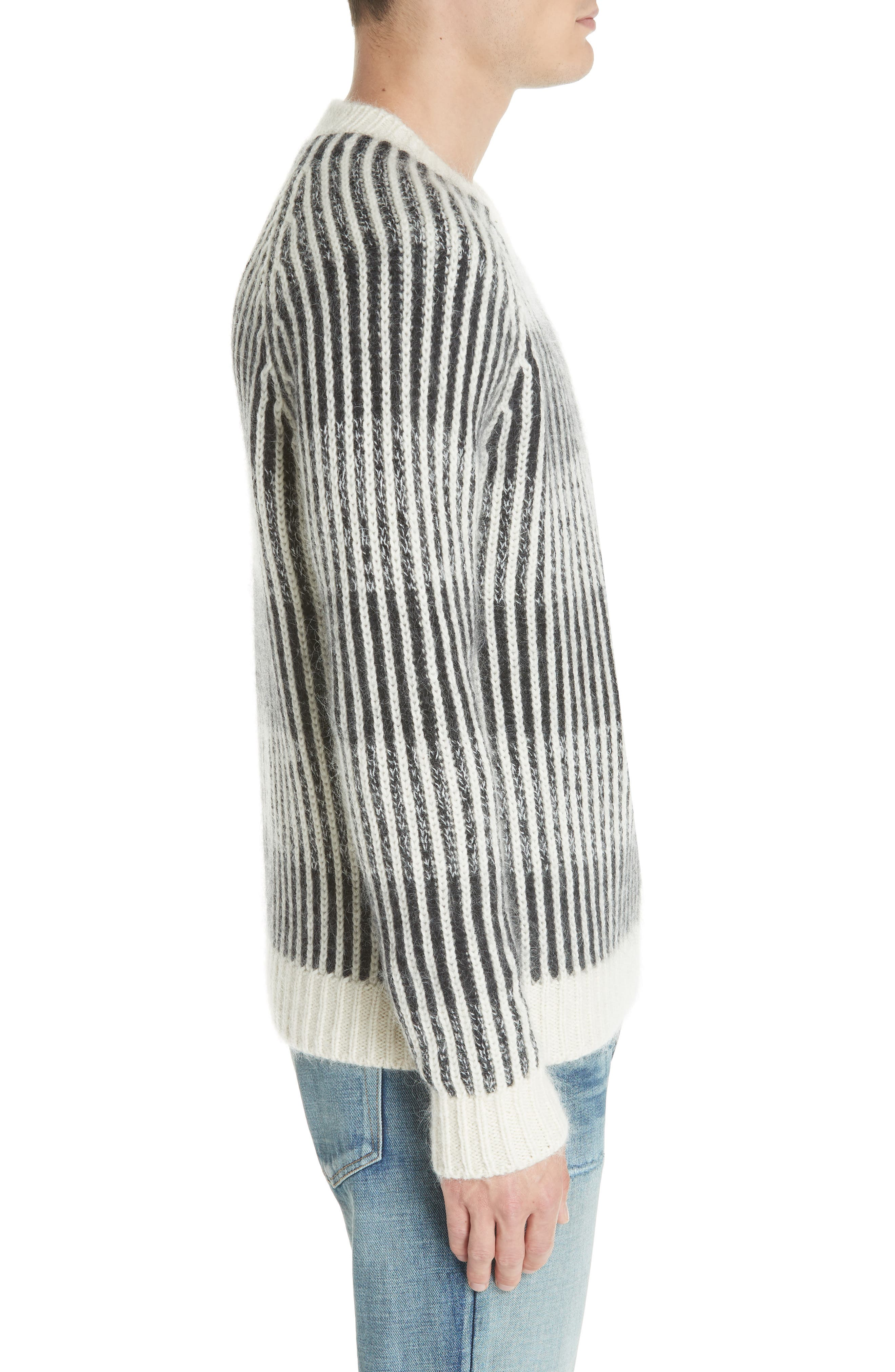 SAINT LAURENT,                             Contrast Rib Wool & Alpaca Blend Sweater,                             Alternate thumbnail 3, color,                             134