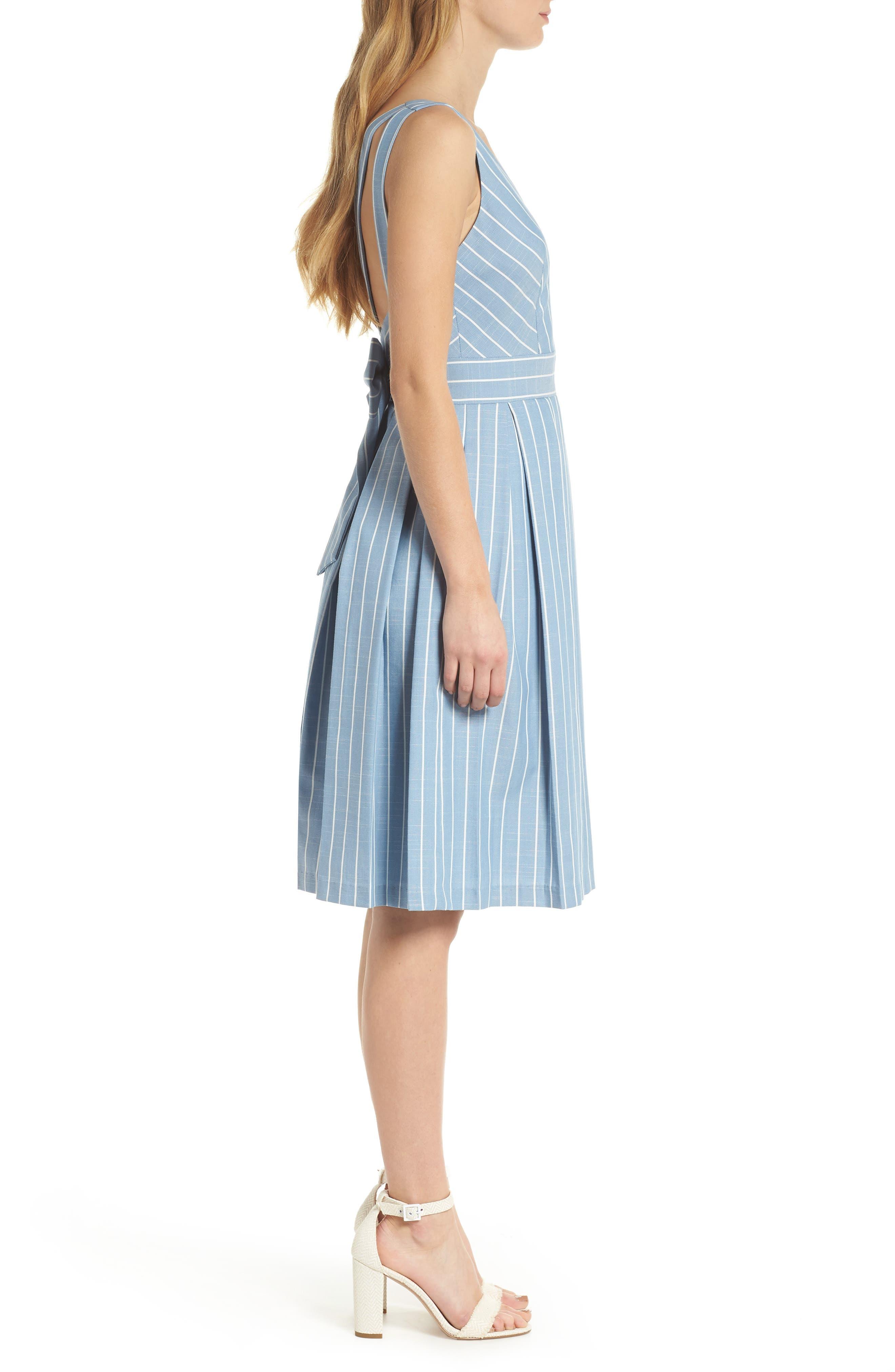 Samantha Slub Stripe Fit & Flare Dress,                             Alternate thumbnail 4, color,                             460