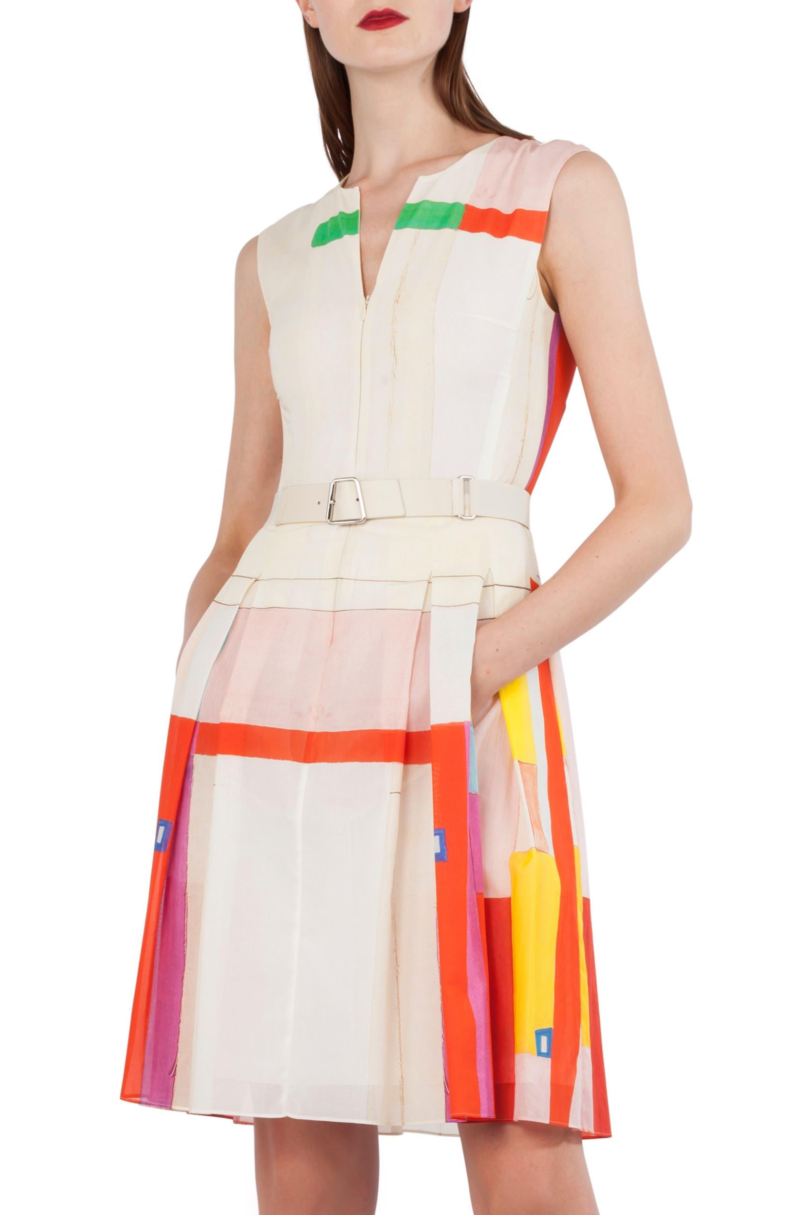 Mural Print Cotton Voile Dress,                             Main thumbnail 1, color,                             900