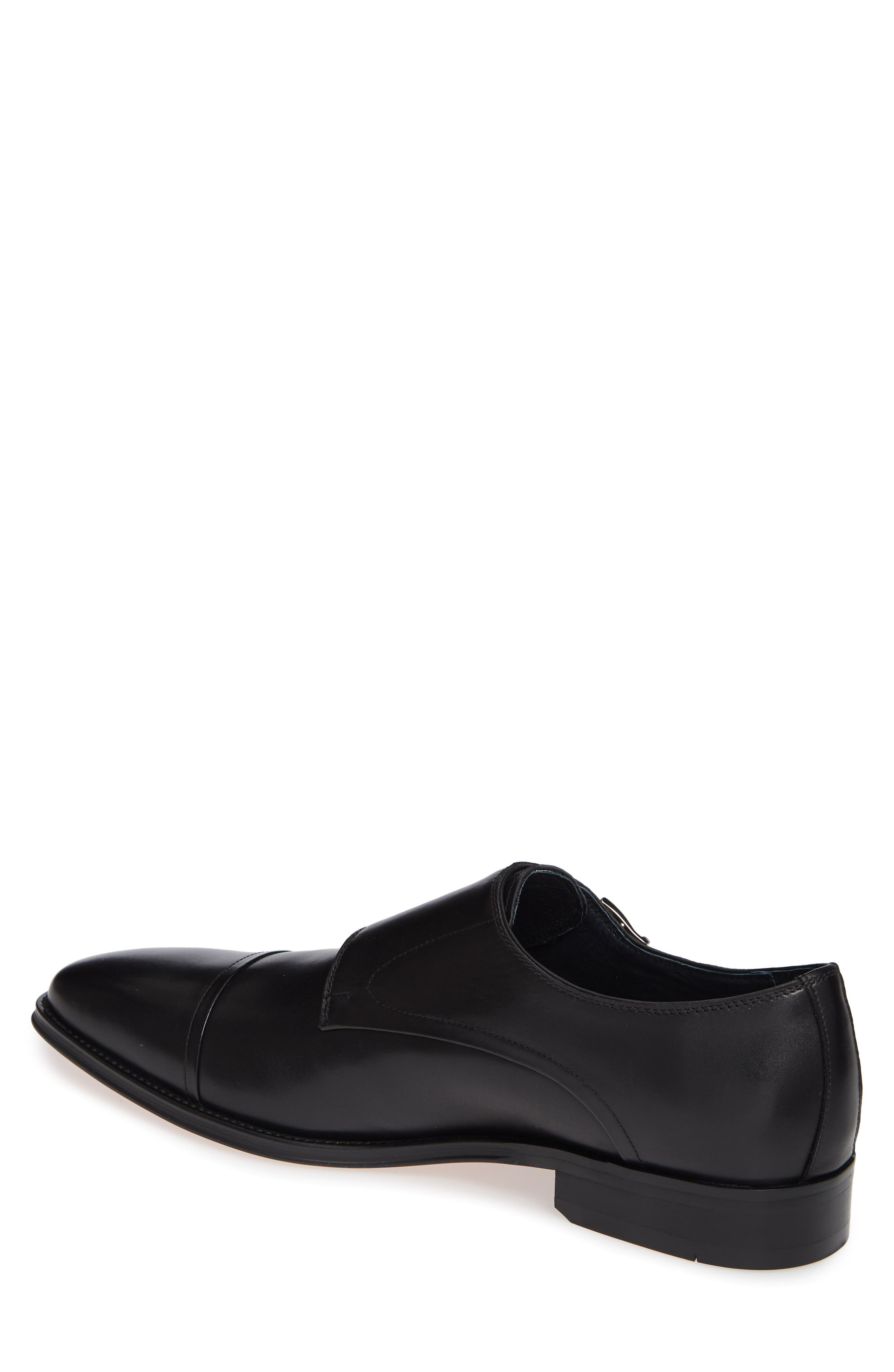Mario Double Monk Strap Shoe,                             Alternate thumbnail 2, color,                             BLACK LEATHER
