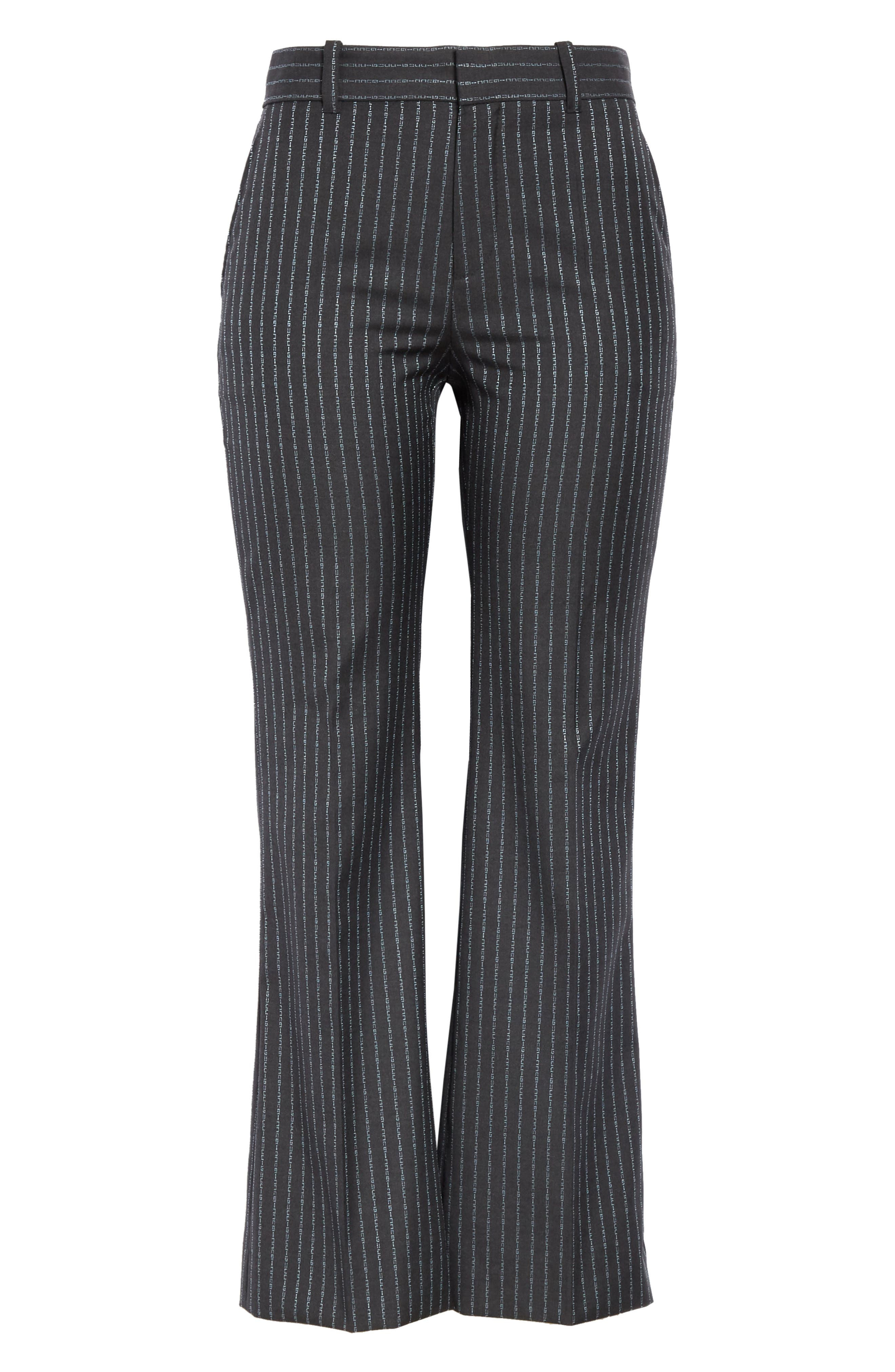 GUCCI,                             Gucci Stripe Bootcut Pants,                             Alternate thumbnail 3, color,                             1180 DARK GREY/ AZURE