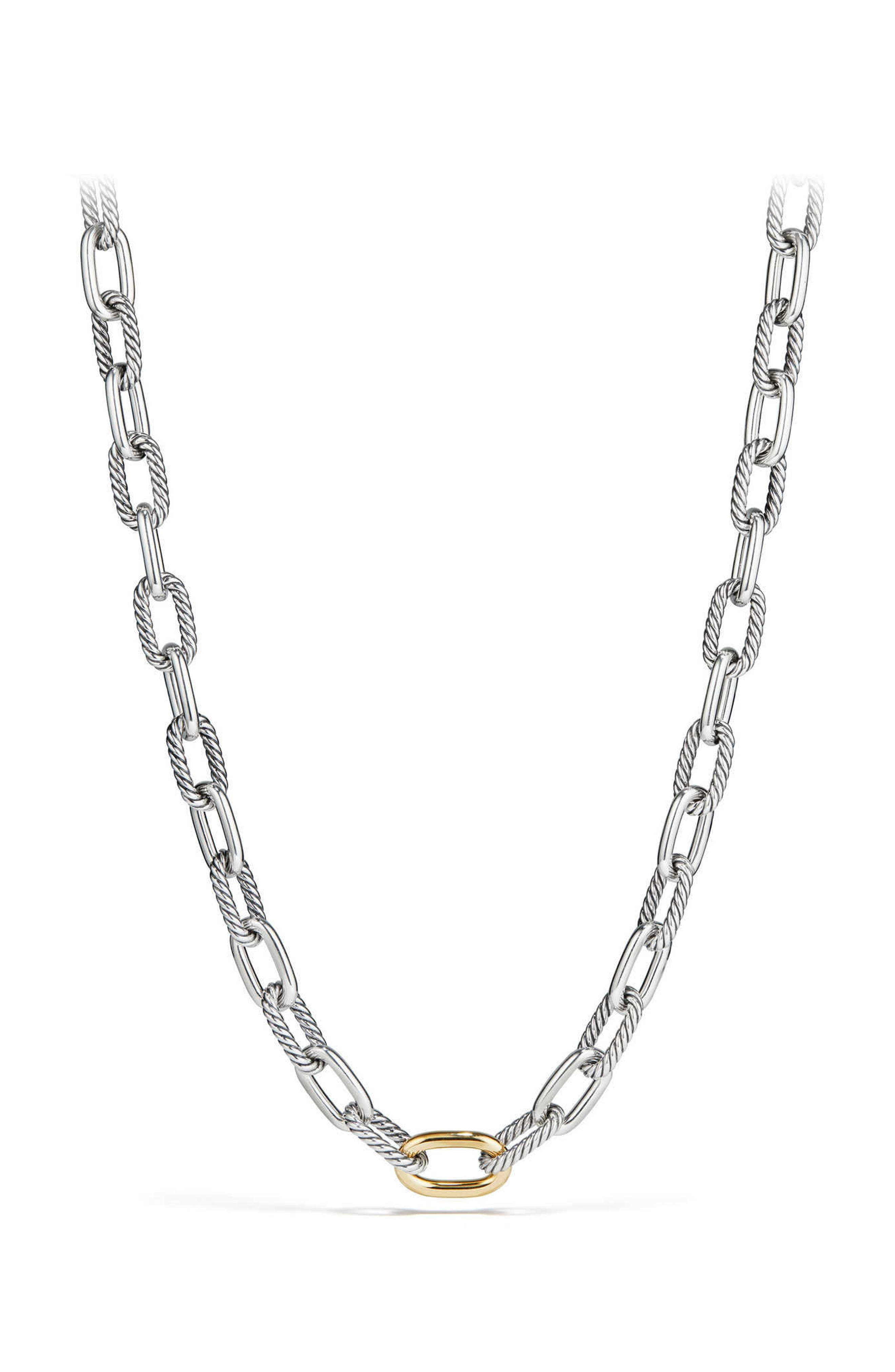Madison Chain Medium Necklace,                         Main,                         color, GOLD/ SILVER
