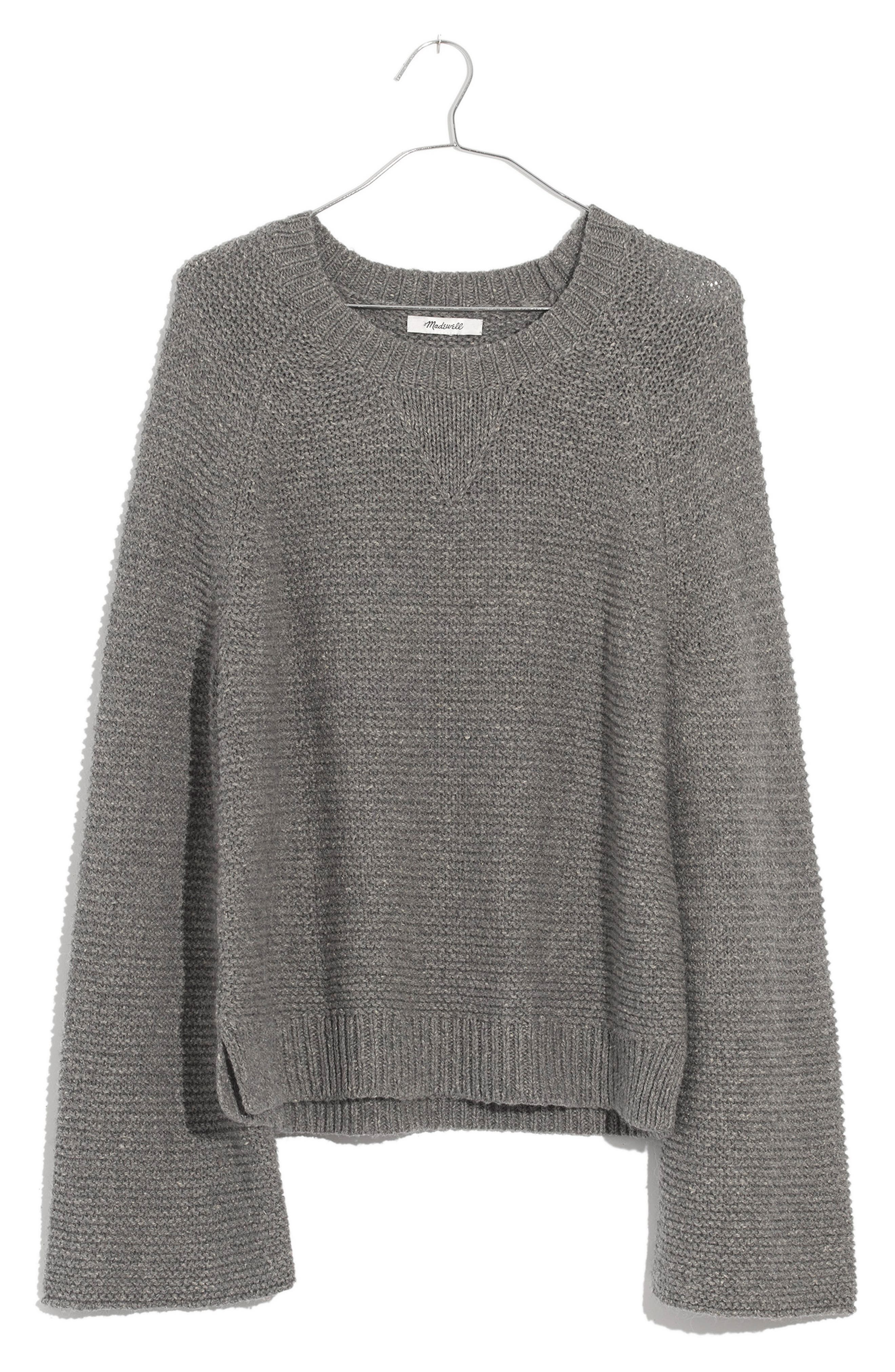 Wide Sleeve Pullover Sweater,                             Main thumbnail 1, color,                             HEATHER GRAY