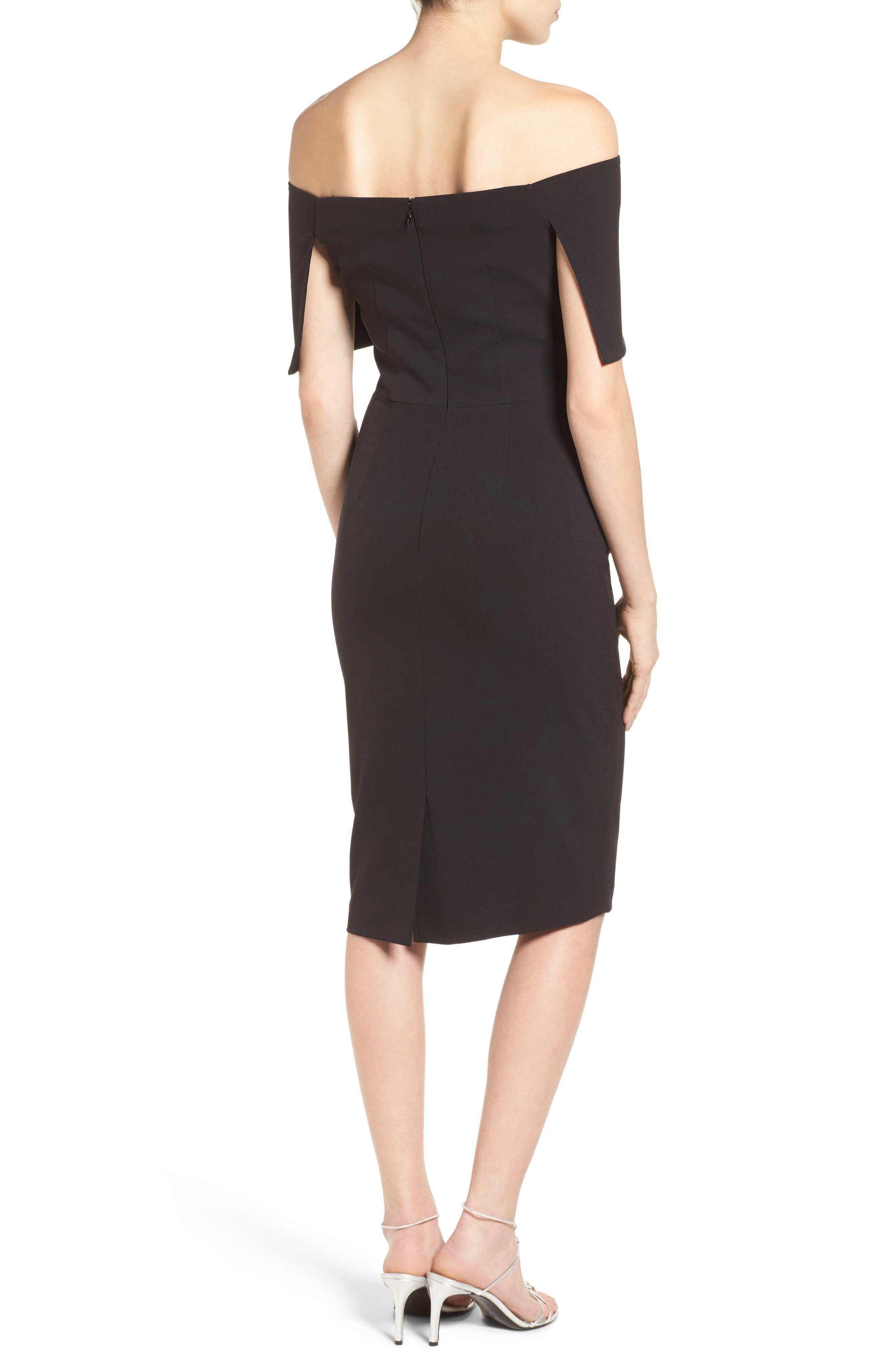 Popover Midi Dress,                             Alternate thumbnail 2, color,                             BLACK