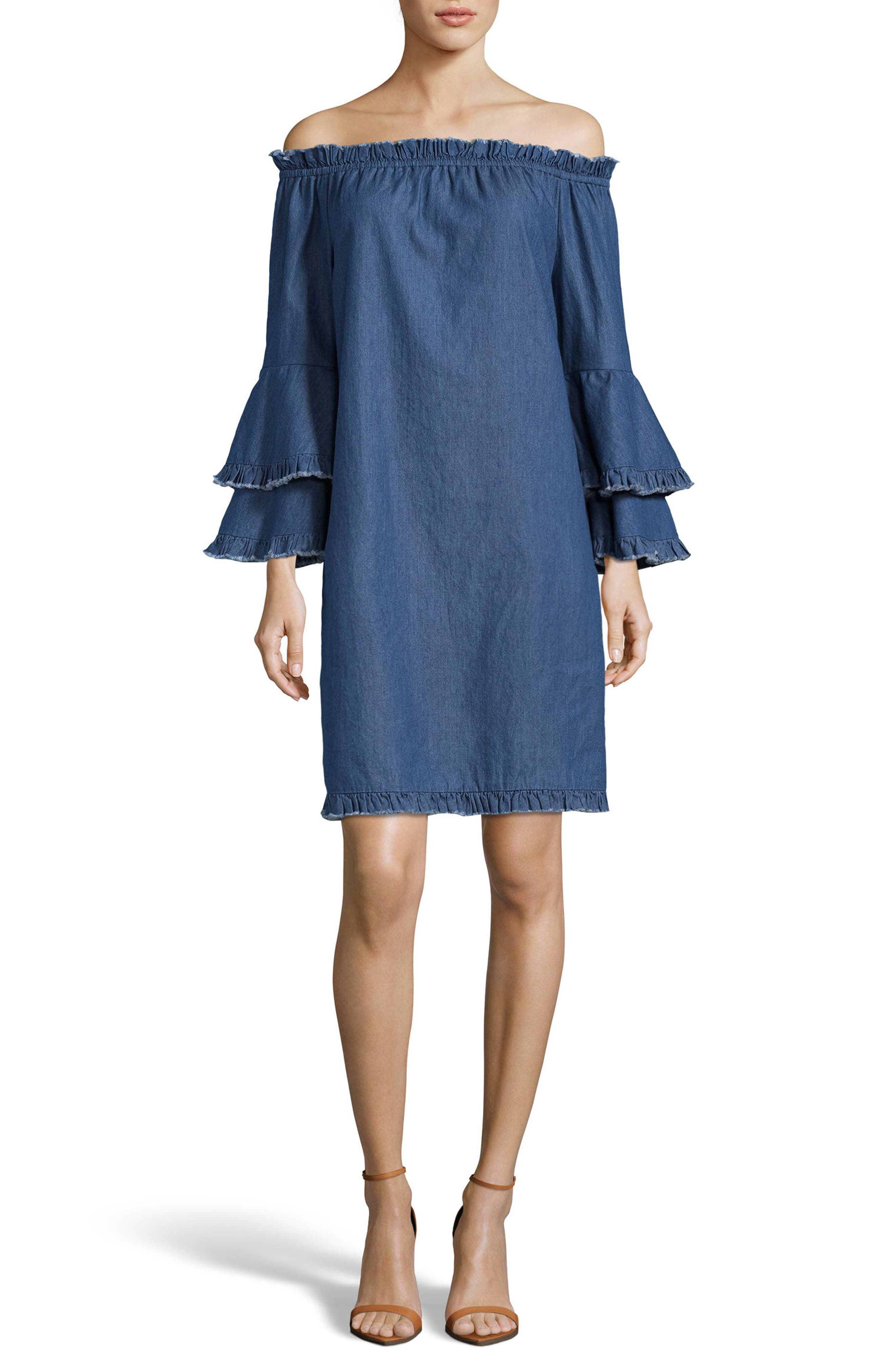 Off the Shoulder Ruffle Sleeve Shift Dress,                         Main,                         color,