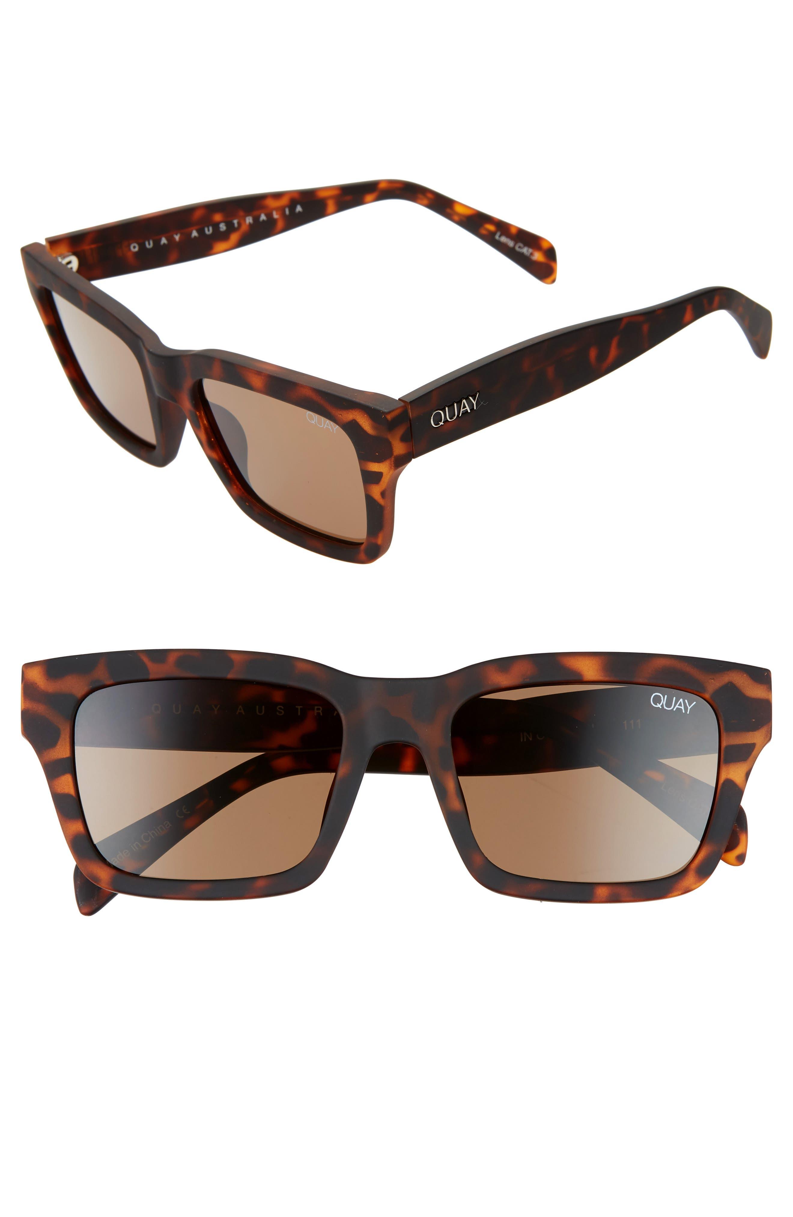 Quay Australia In Control 4m Rectangle Sunglasses - Matte Tortoise / Brown