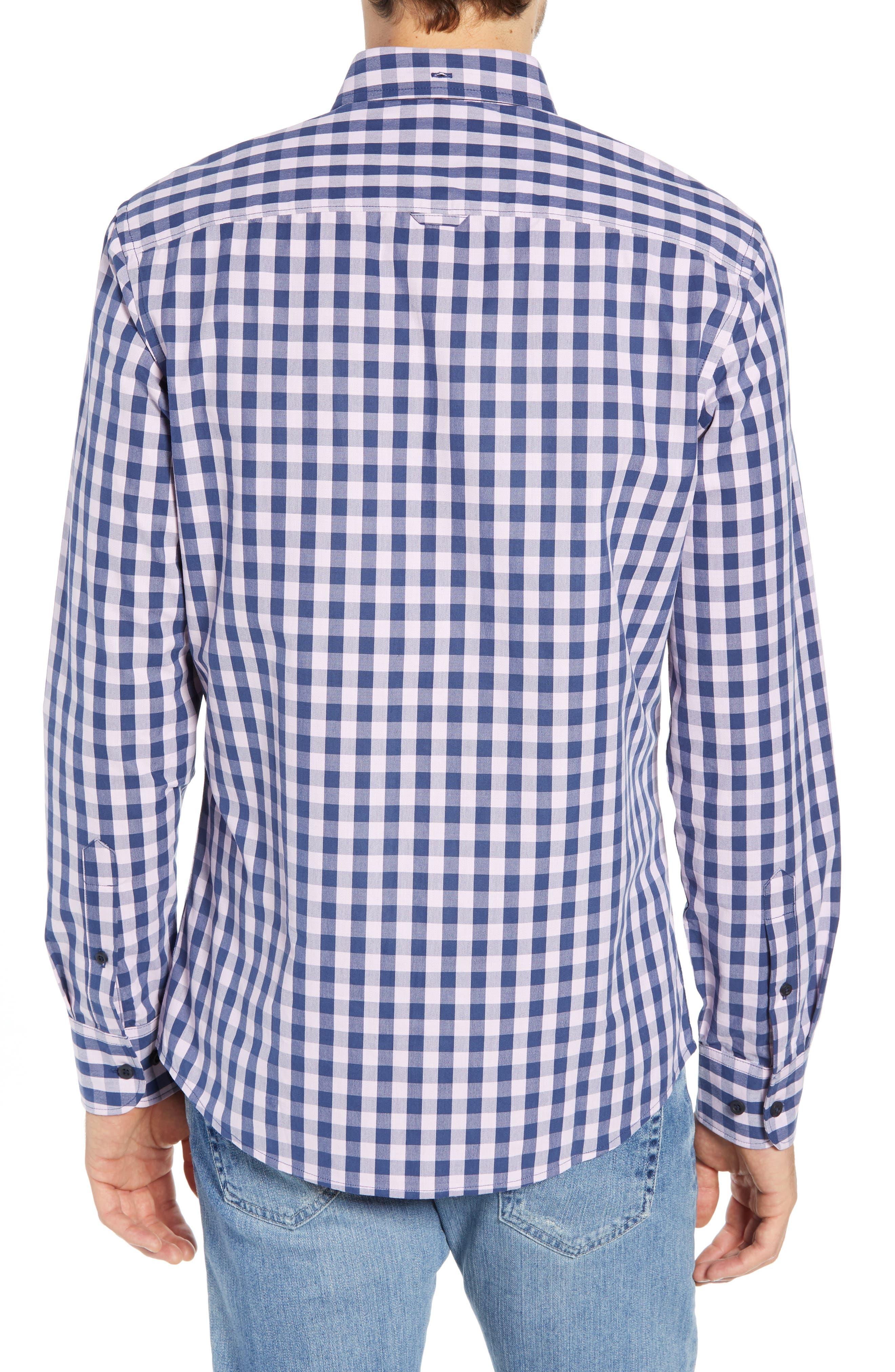 Slim Fit Gingham Sport Shirt,                             Alternate thumbnail 3, color,                             NAVY IRIS PINK CAMEO GINGHAM