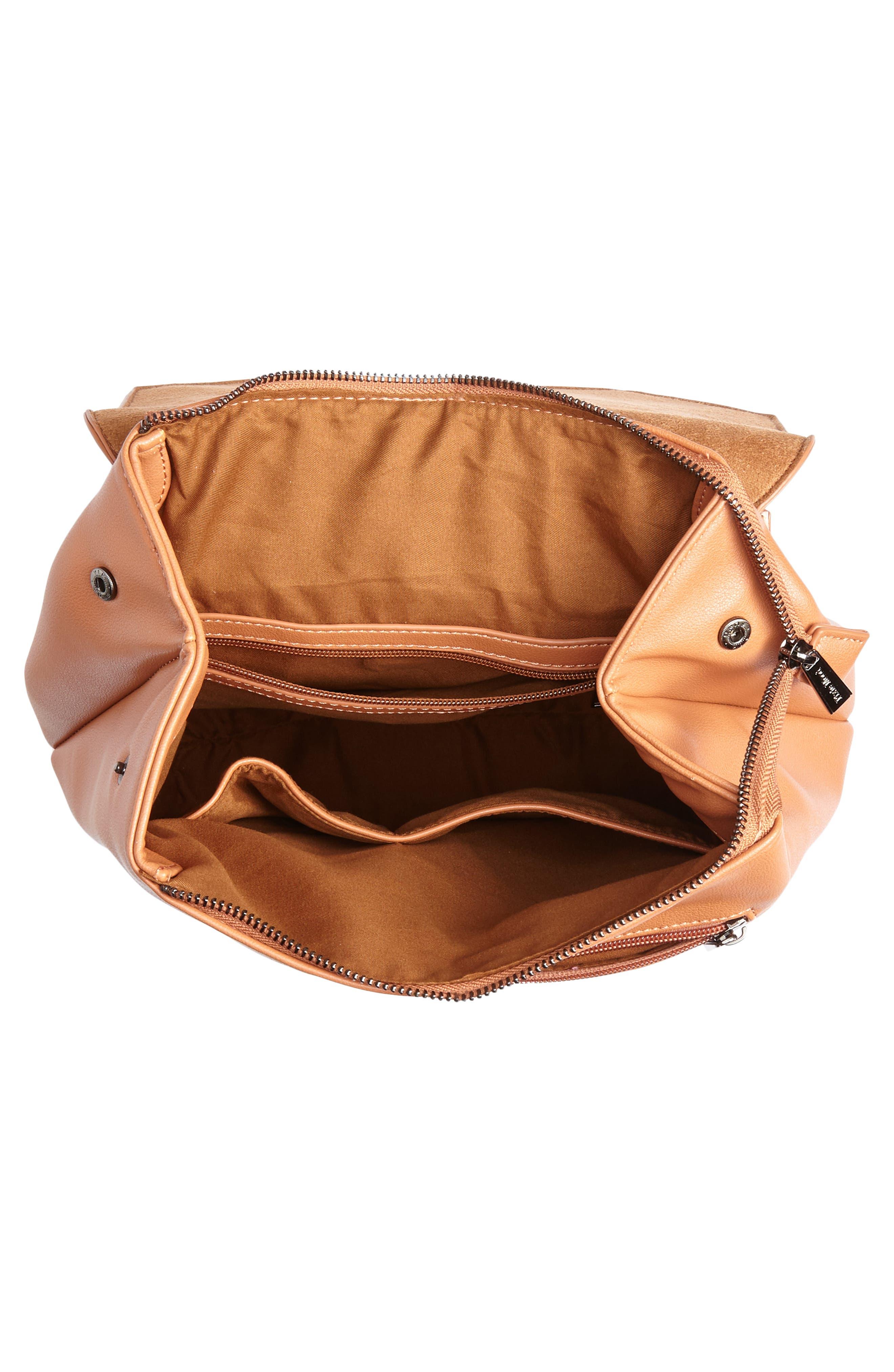 Valeria Faux Leather Backpack,                             Alternate thumbnail 4, color,                             CARAMEL