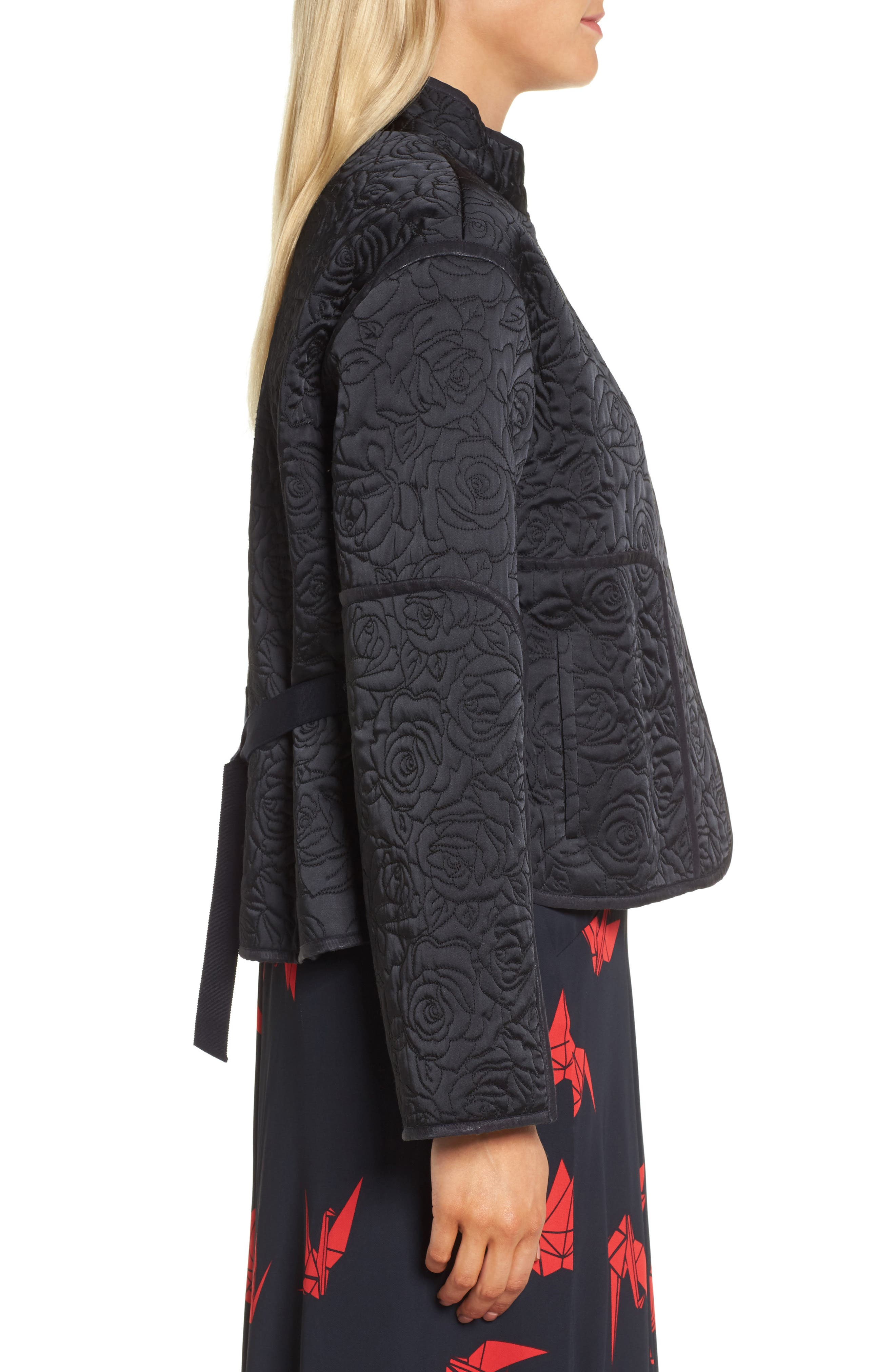 Floral Quilted Satin Jacket,                             Alternate thumbnail 3, color,