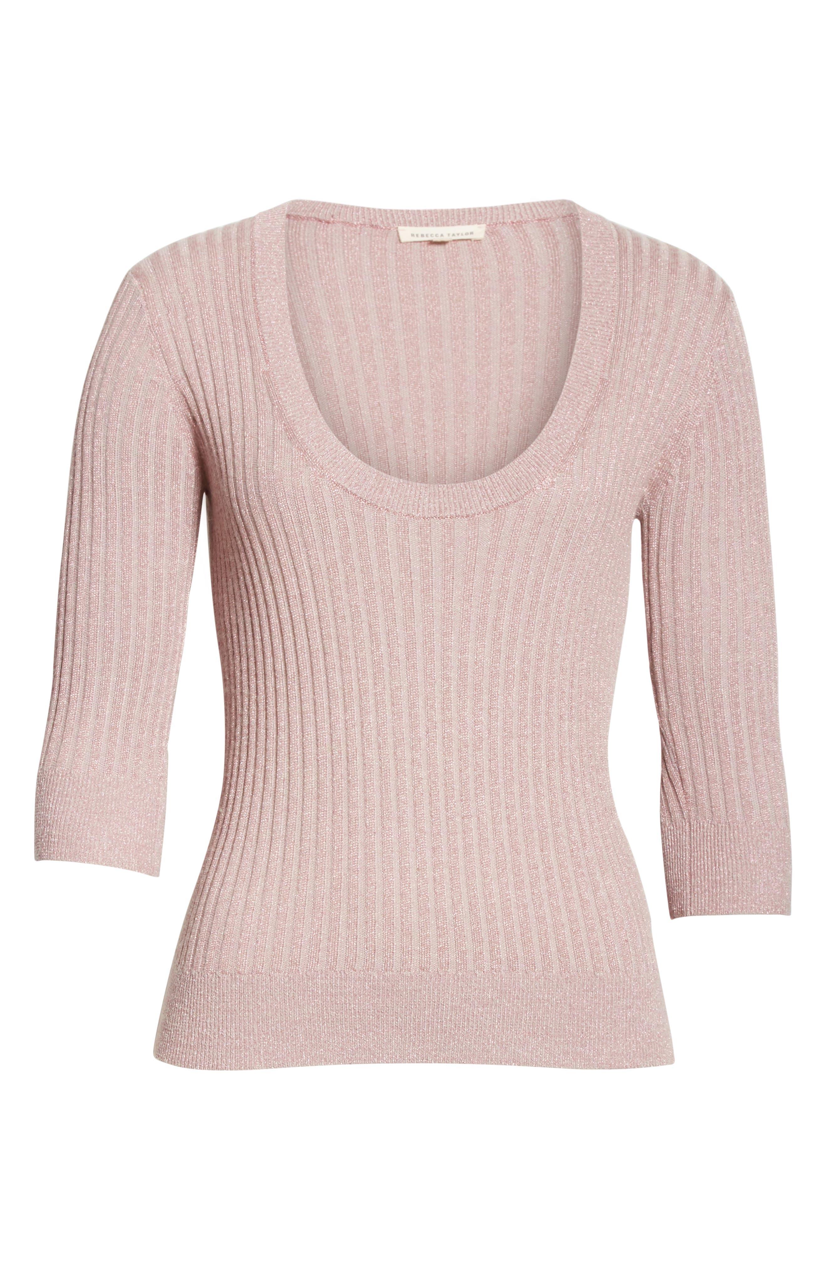 Metallic Rib Sweater,                             Alternate thumbnail 6, color,                             658