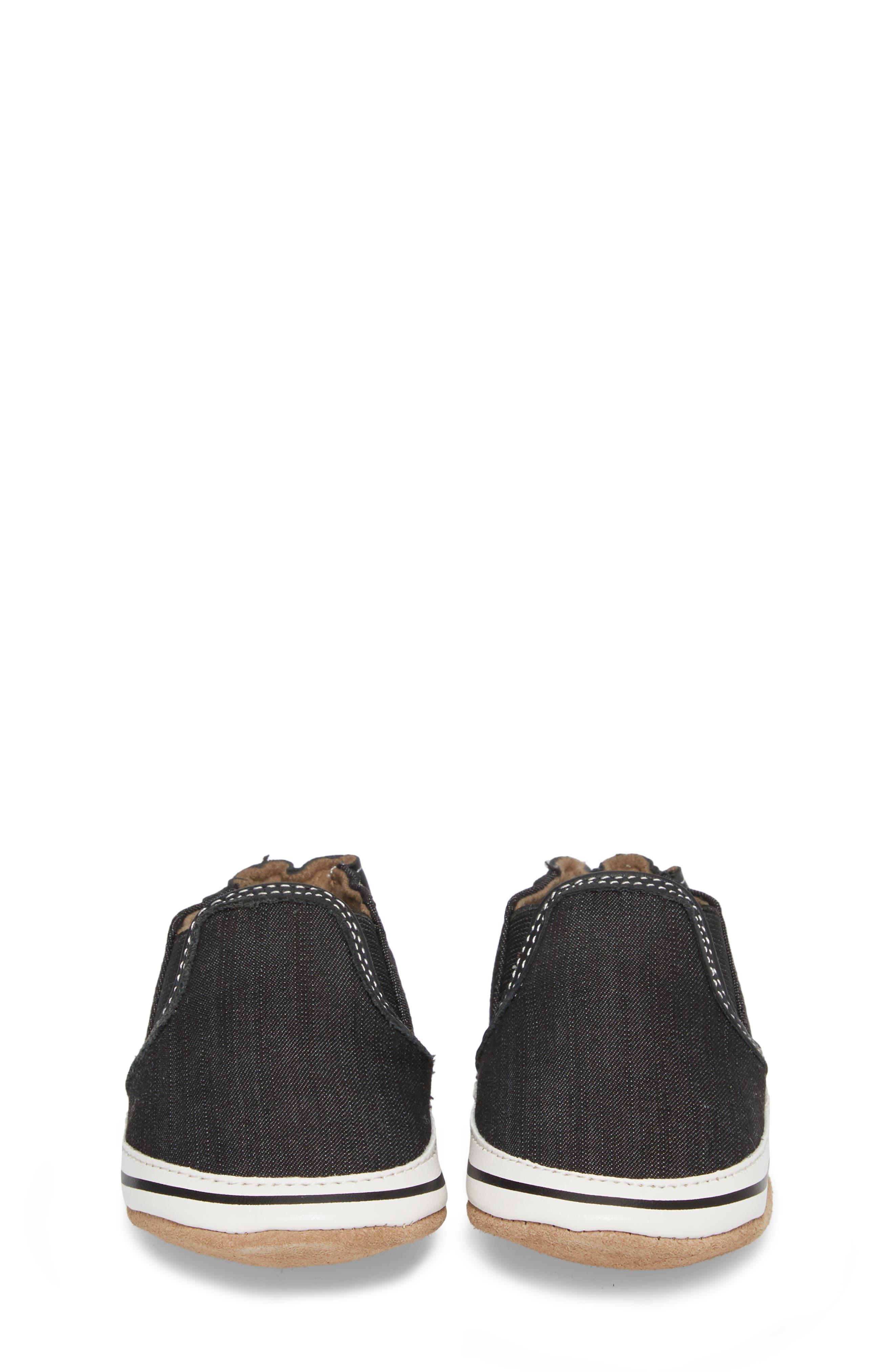 Liam Slip-On Crib Sneaker,                             Alternate thumbnail 4, color,                             BLACK