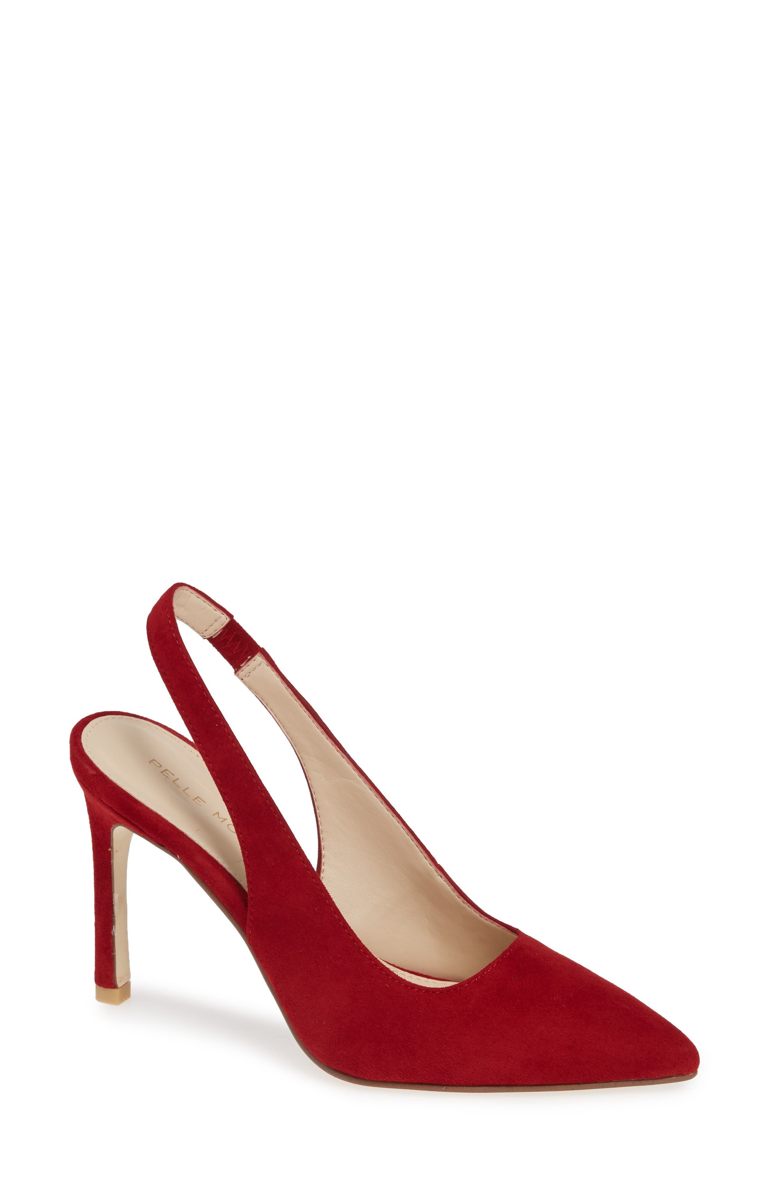 Ivory Slingback Pump,                             Main thumbnail 1, color,                             SCARLET SUEDE