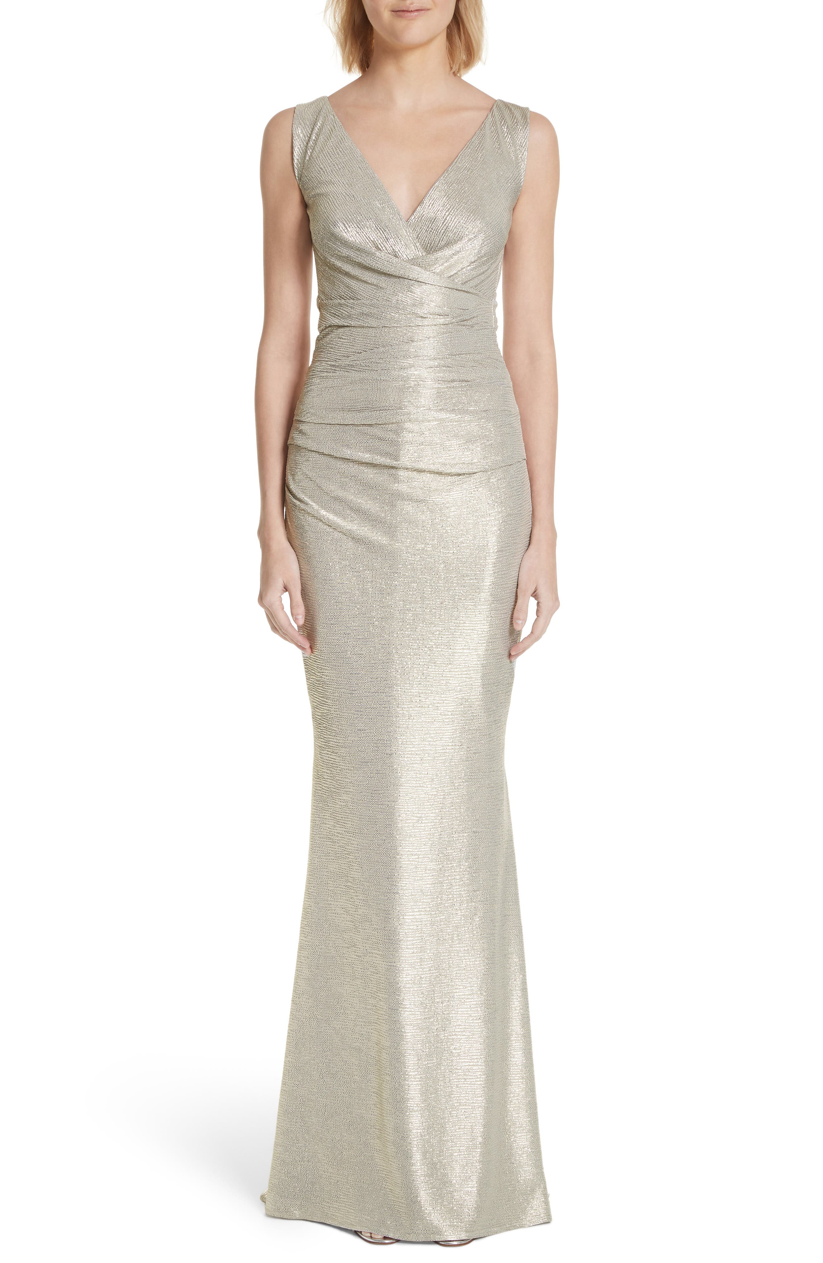 Talbot Runhof Pleated Microdot Satin Gown, Metallic