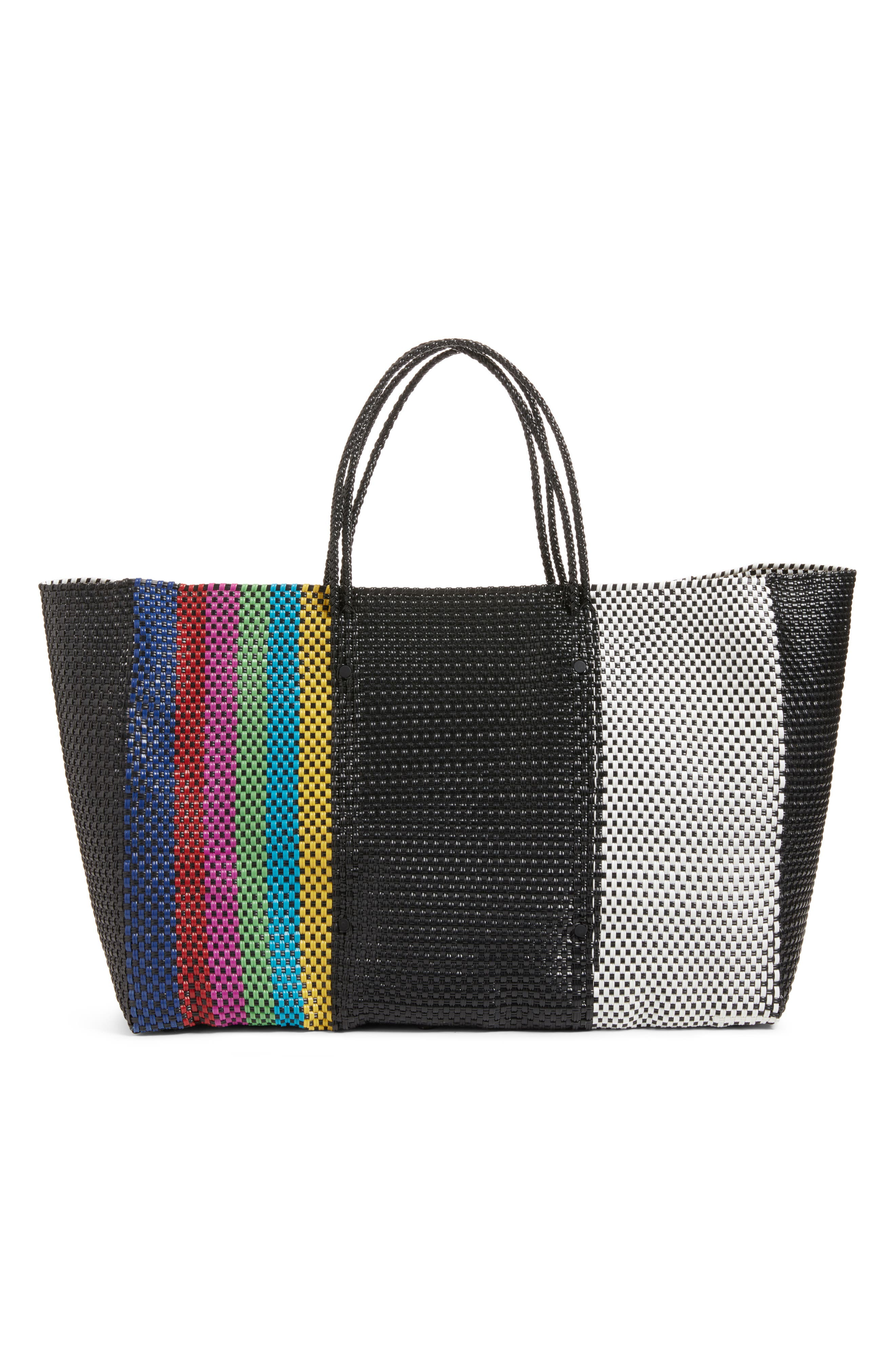 Woven Stripe Weekend Tote,                             Alternate thumbnail 3, color,                             TV COLOR
