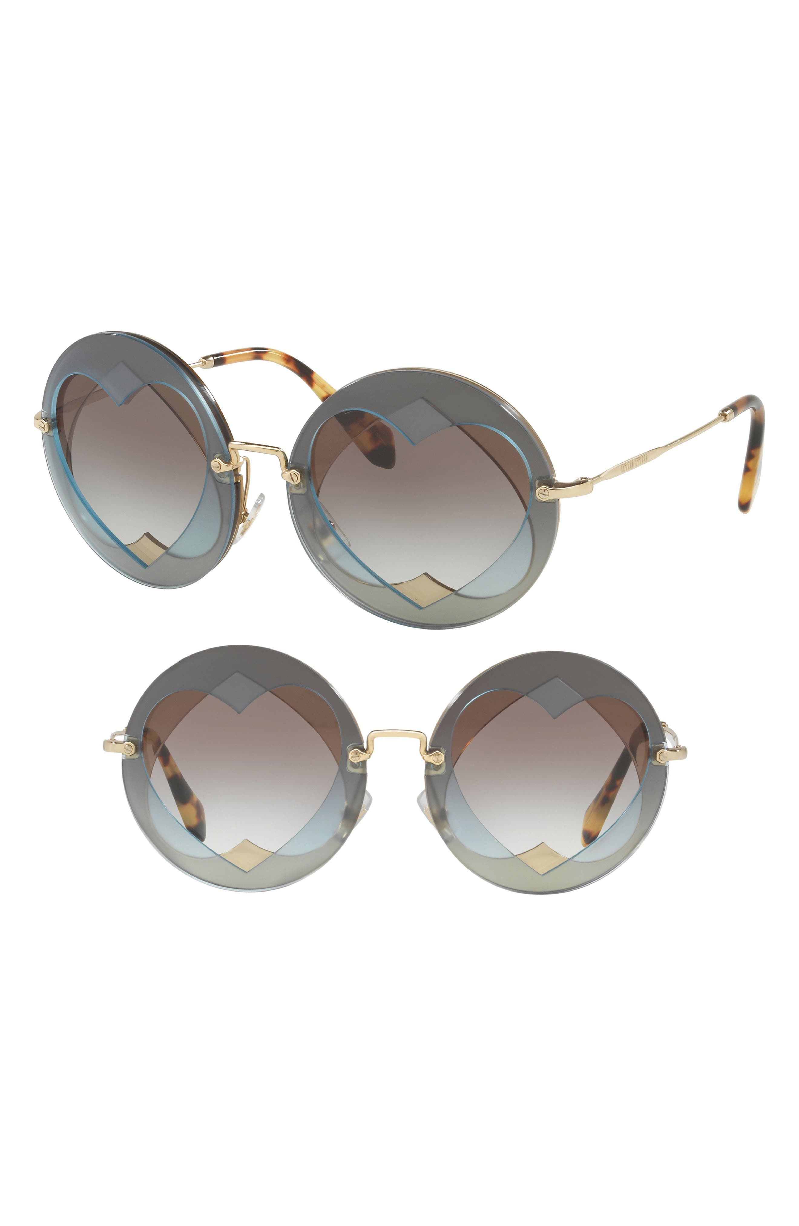 Miu Miu 62Mm Layered Heart Round Sunglasses -