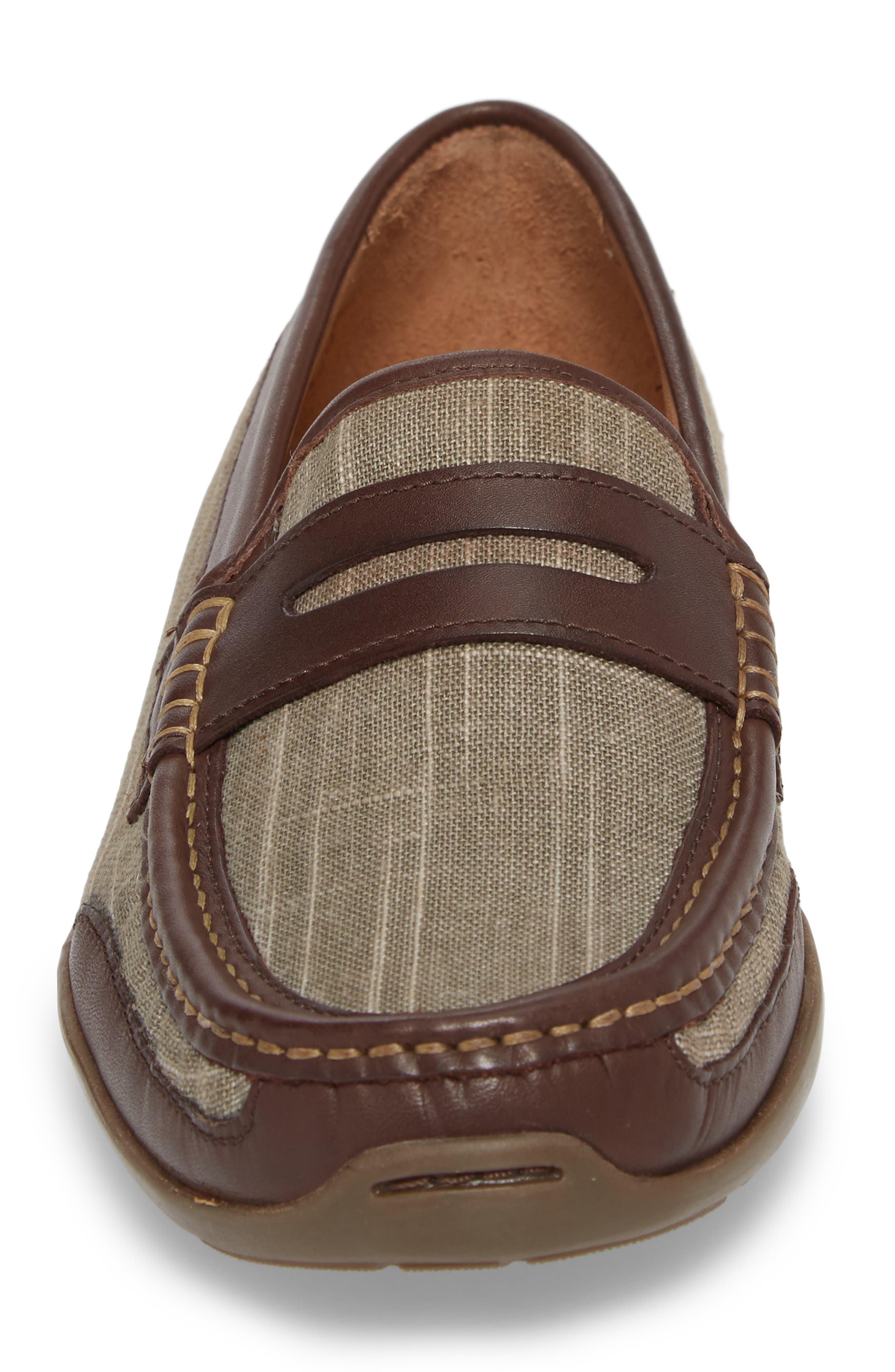 Taza Fronds Driving Shoe,                             Alternate thumbnail 4, color,                             BROWN/ OLIVE LEATHER/ LINEN