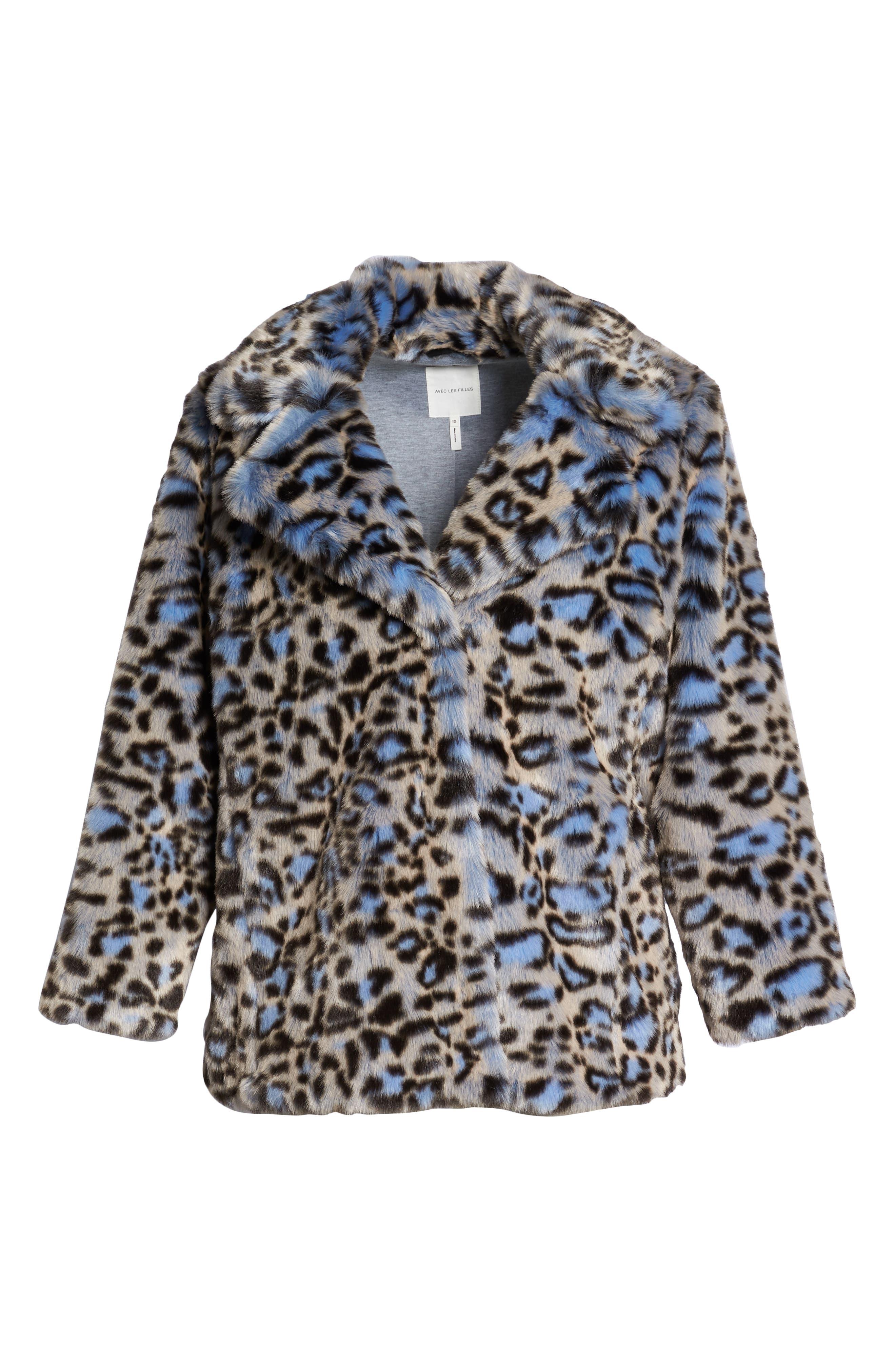 Animal Print Faux Fur Coat,                             Alternate thumbnail 6, color,                             BLUE LEOPARD