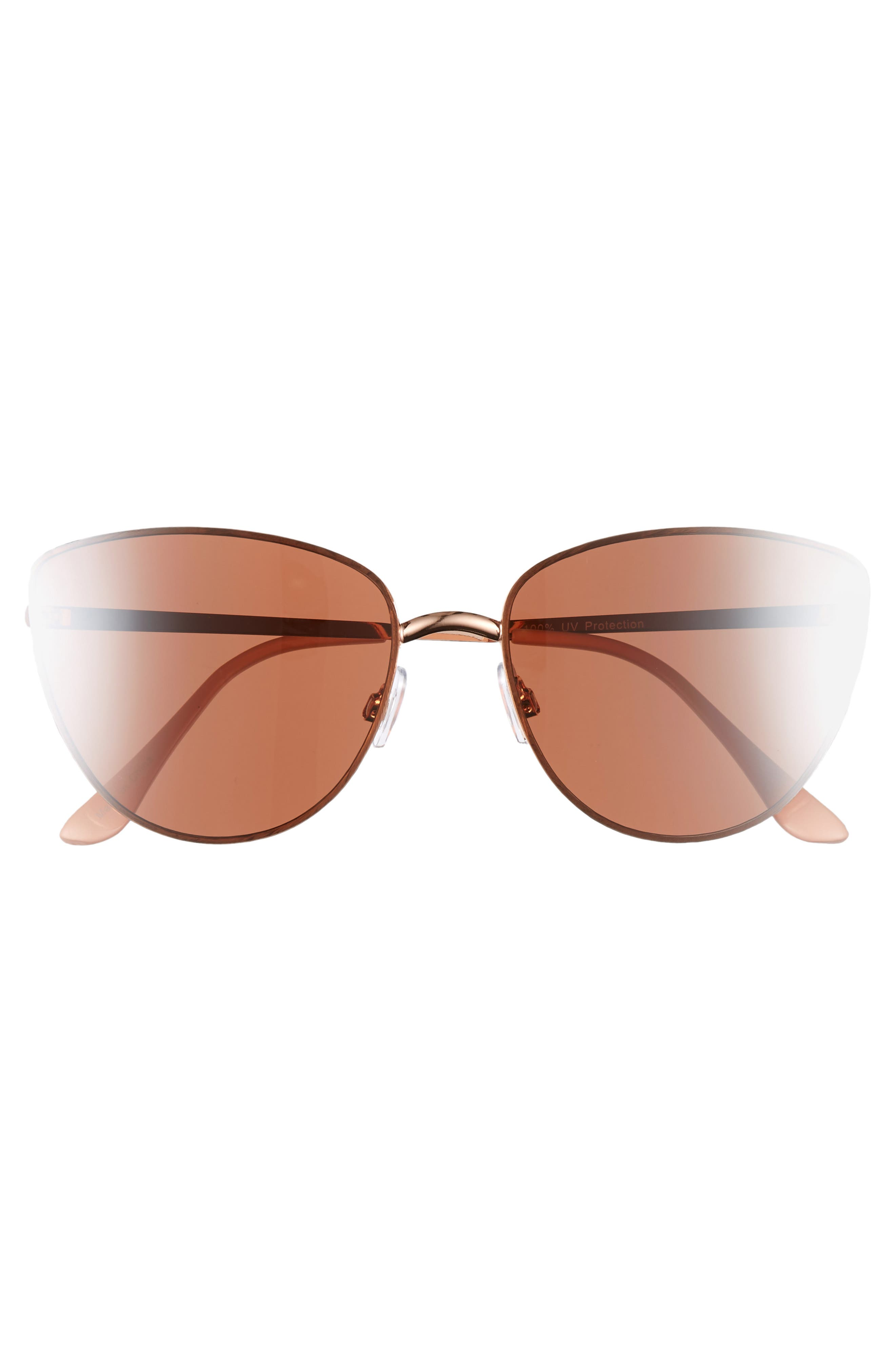 Rimless Cat Eye Sunglasses,                             Alternate thumbnail 3, color,                             ROSE GOLD