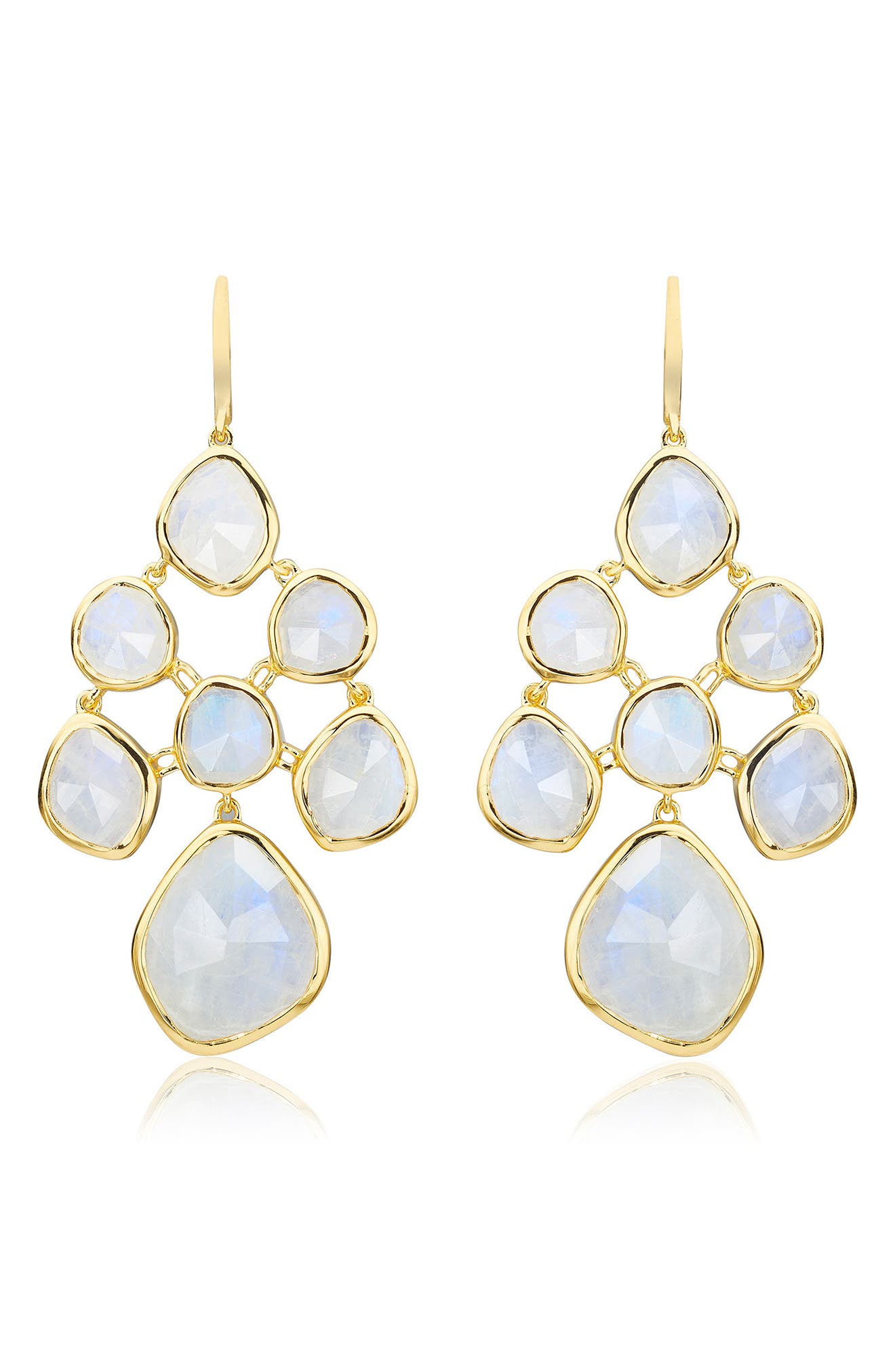 Siren Chandelier Earrings,                         Main,                         color, YELLOW GOLD/ MOONSTONE