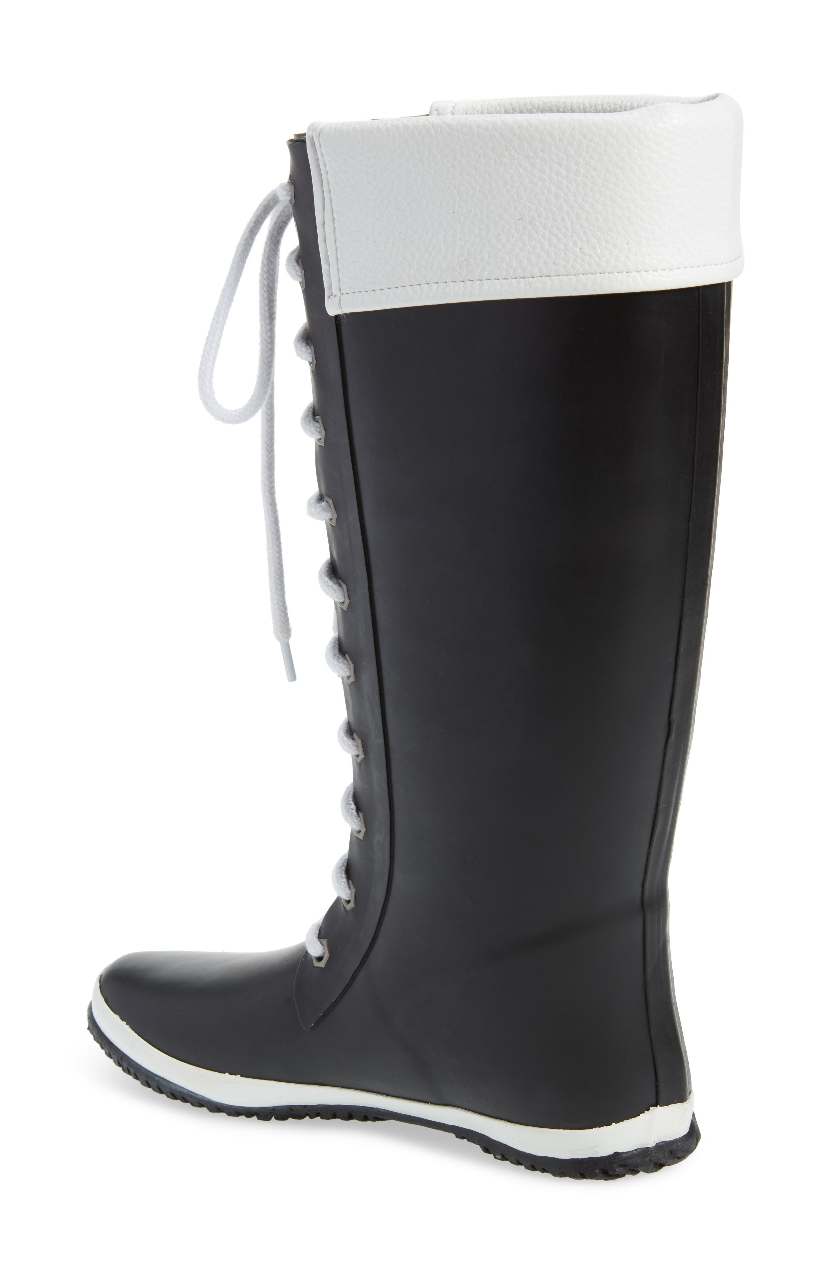 Lace-Up Waterproof Rain Boot,                             Alternate thumbnail 2, color,                             BLACK