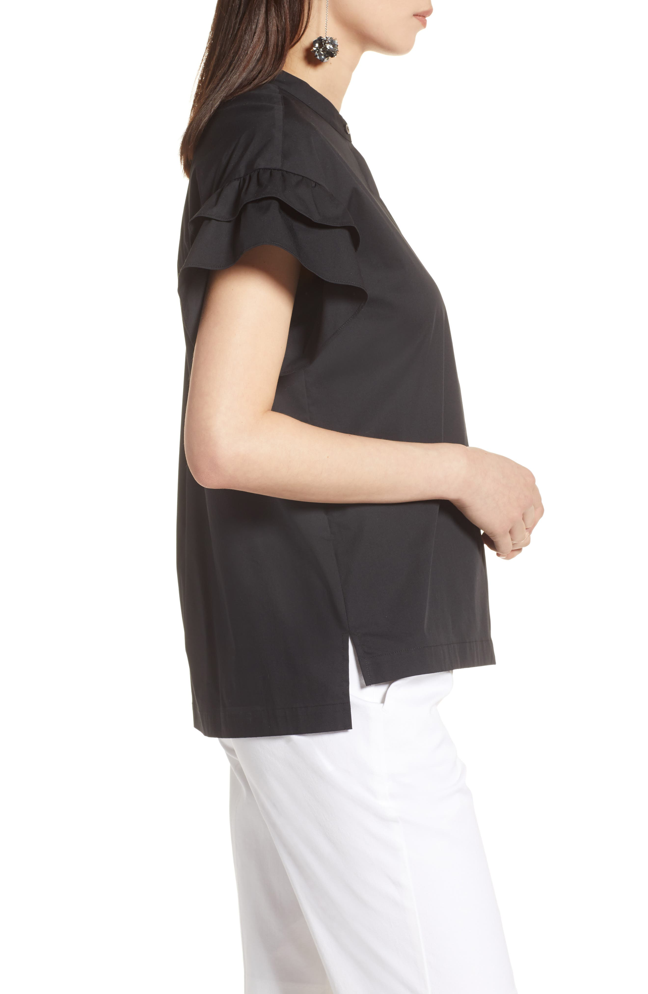 Ruffle Sleeve Stretch Cotton Blend Blouse,                             Alternate thumbnail 10, color,