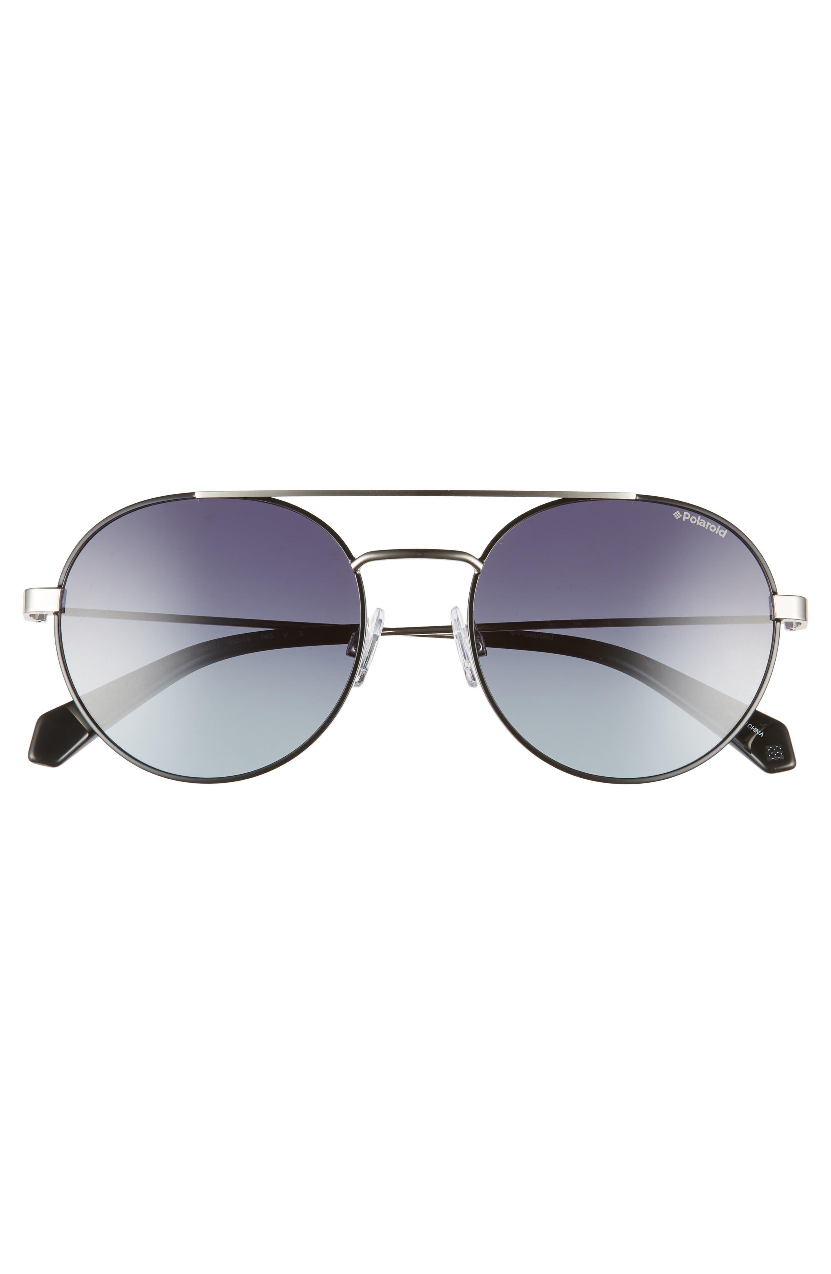POLAROID EYEWEAR,                             Polaroid 55mm Polarized Round Aviator Sunglasses,                             Alternate thumbnail 3, color,                             BLACK RUTHENIUM
