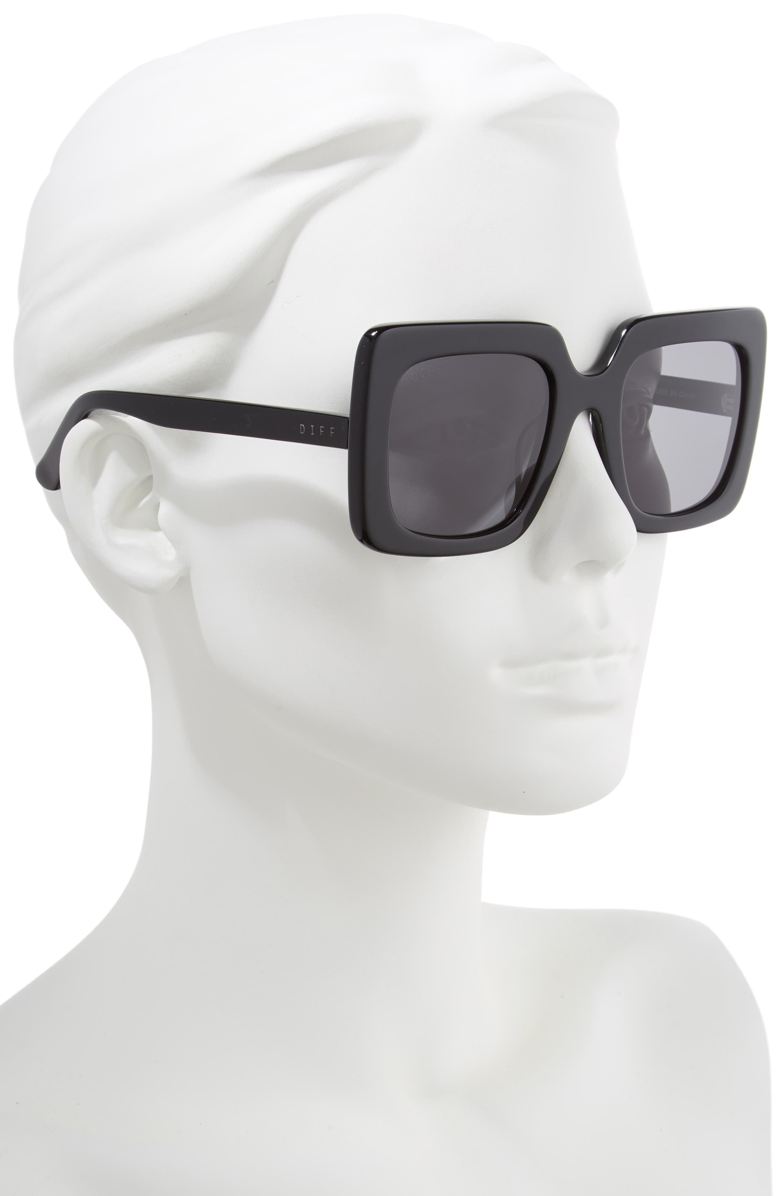 Sasha 53mm Polarized Sunglasses,                             Alternate thumbnail 2, color,                             BLACK/ GREY