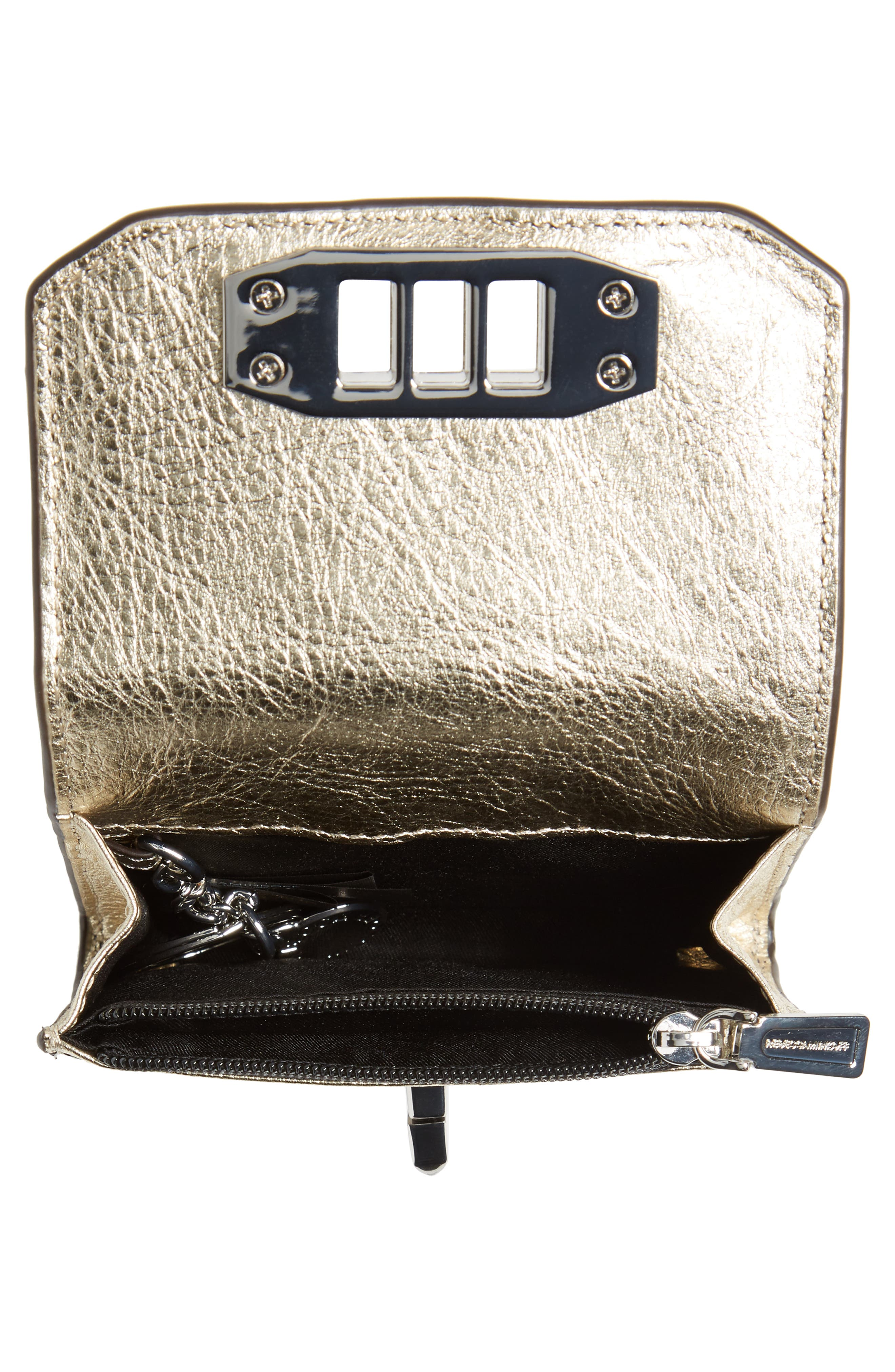 Love Lock Metallic Leather Wallet,                             Alternate thumbnail 2, color,
