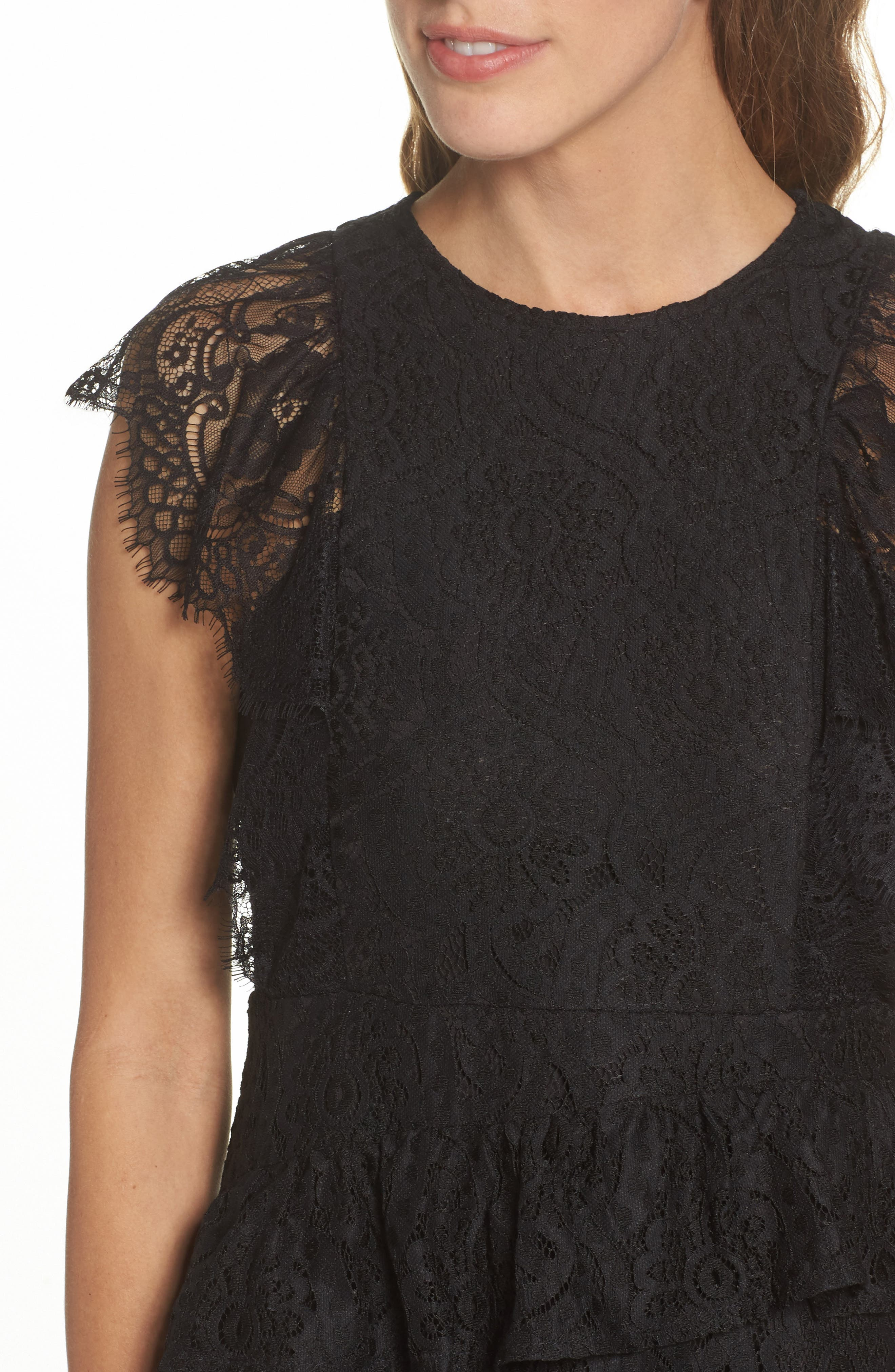Ruffle Lace High/Low dress,                             Alternate thumbnail 4, color,                             BLACK