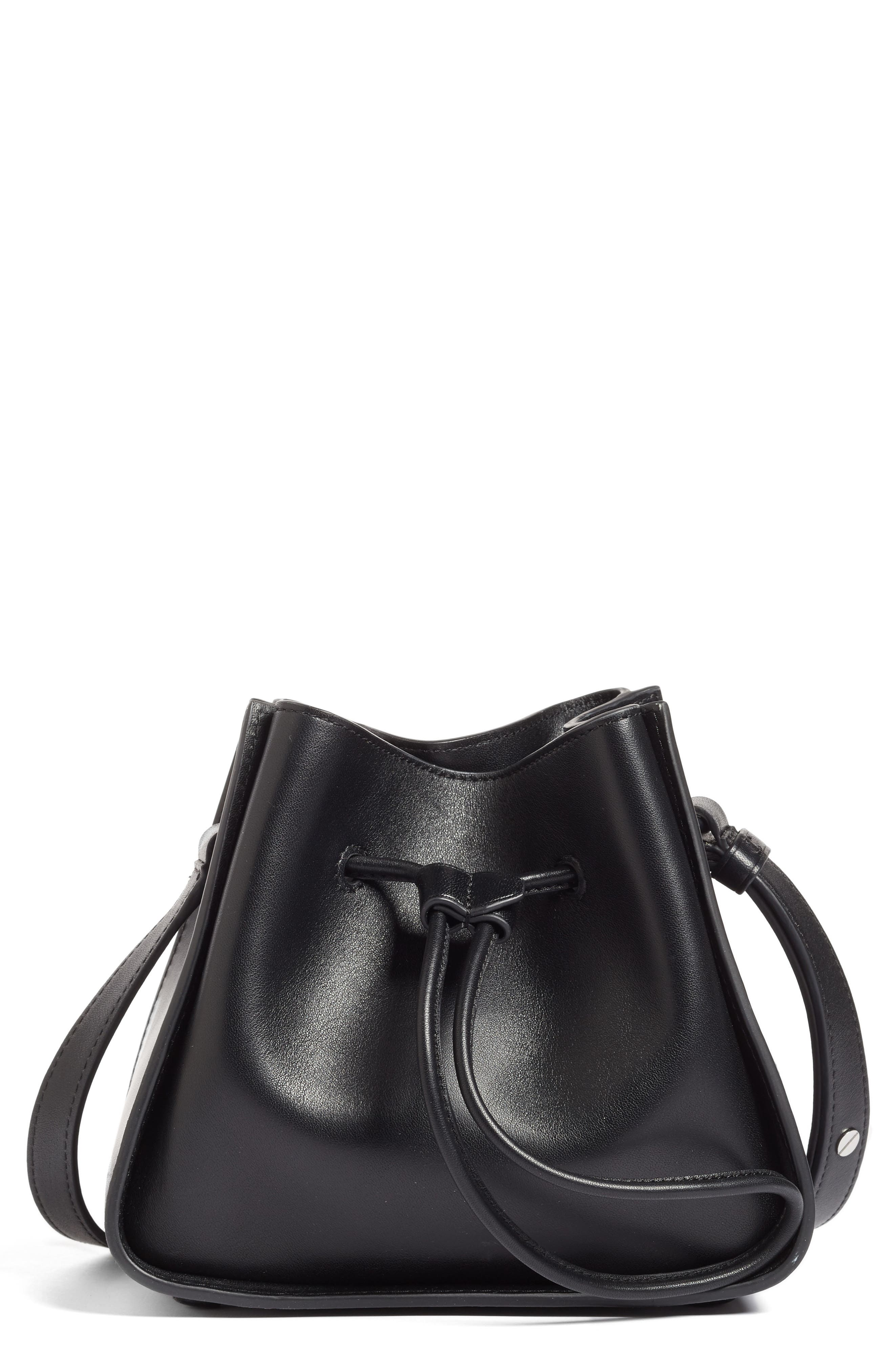 Mini Soleil Leather Bucket Bag,                             Main thumbnail 1, color,                             001