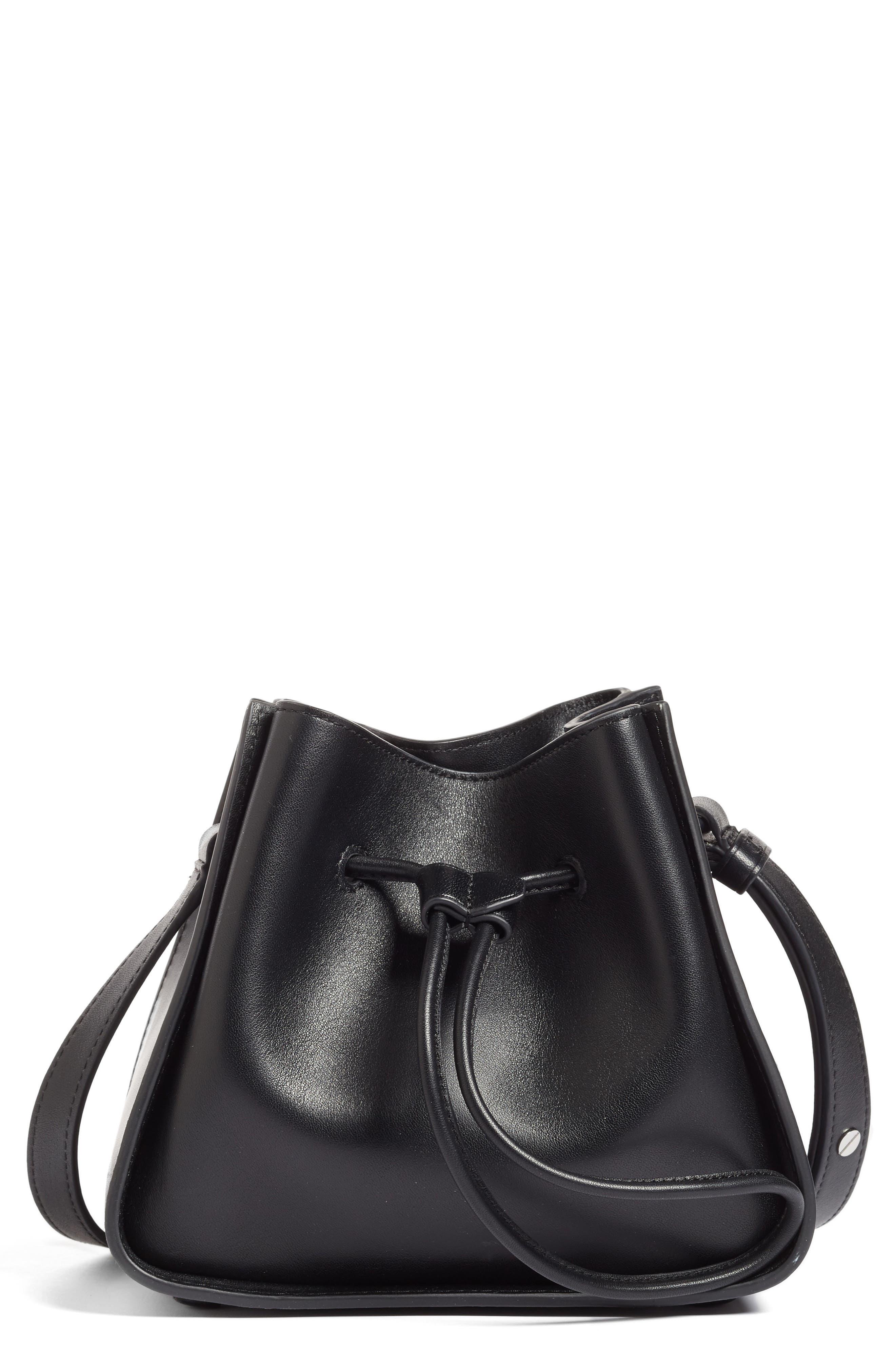 Mini Soleil Leather Bucket Bag,                         Main,                         color, 001