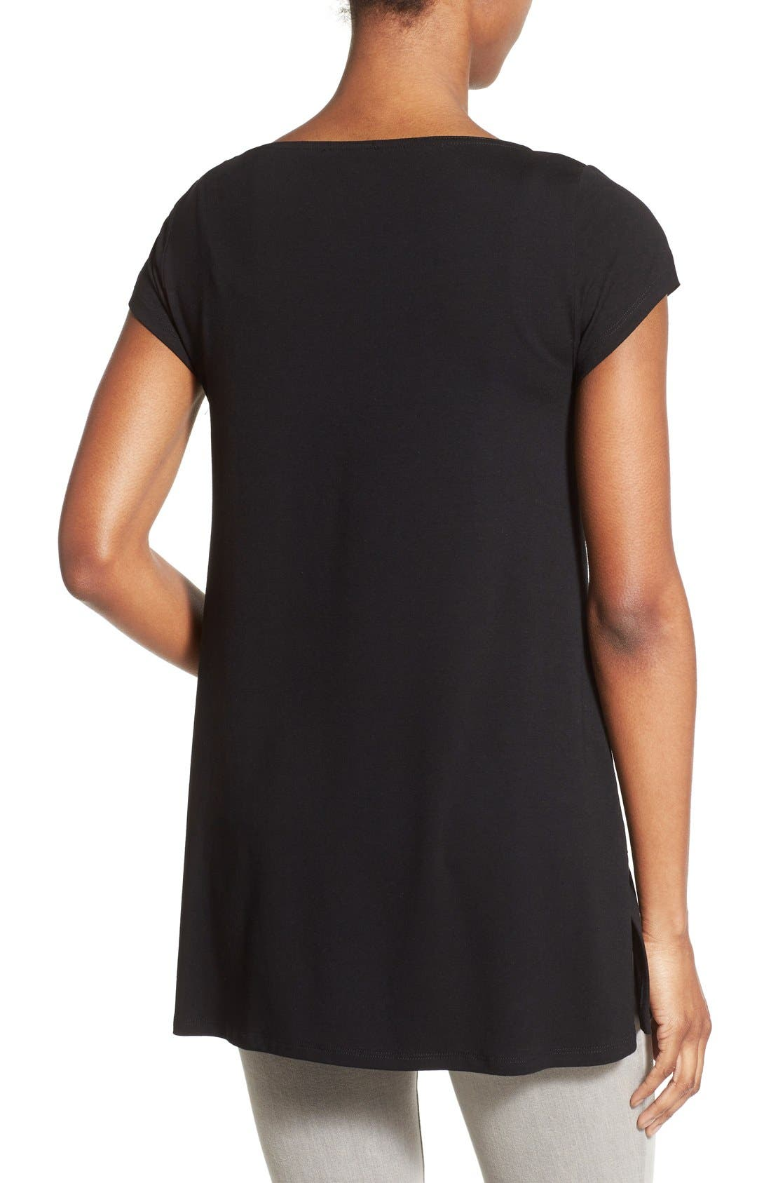 Bateau Neck Tunic Top,                             Alternate thumbnail 4, color,                             001
