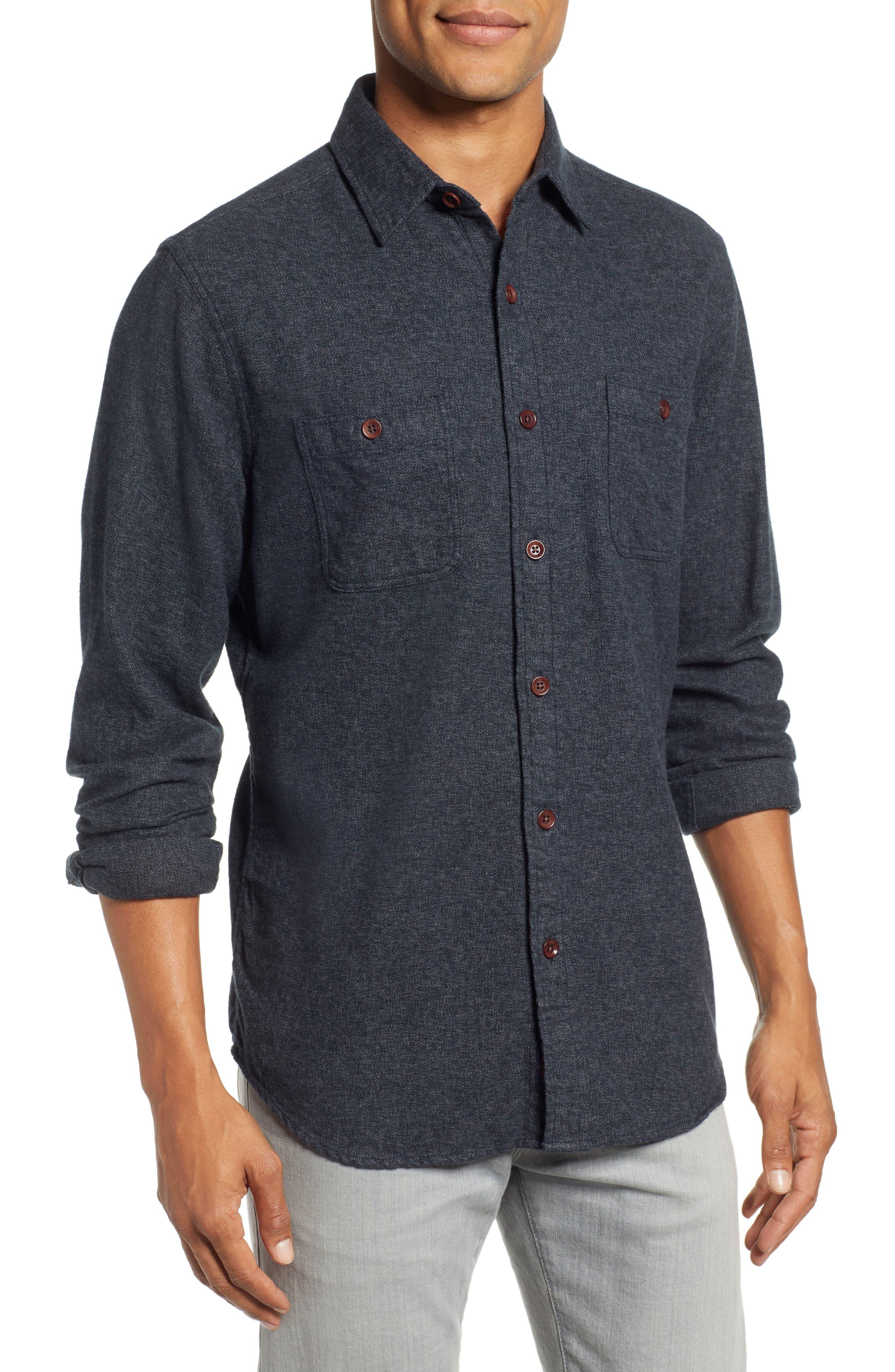 Seasons Organic Cotton Flannel Sport Shirt,                             Main thumbnail 1, color,                             WASHED BLACK