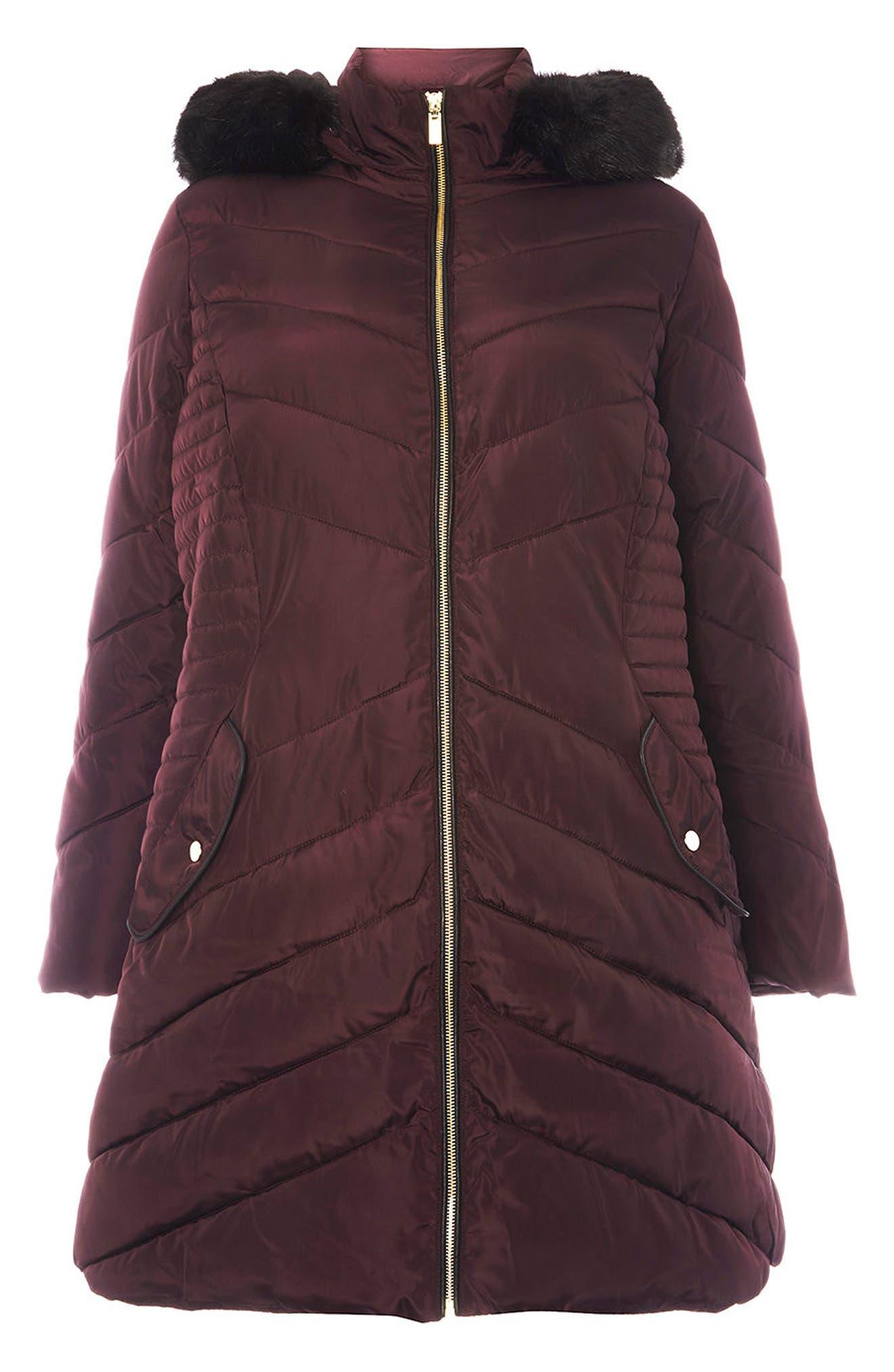 Faux Fur Trim Hooded Puffer Coat,                             Alternate thumbnail 6, color,